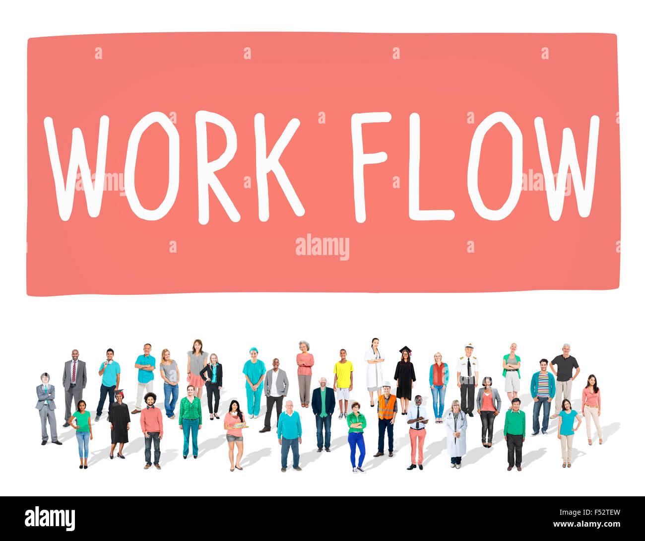 Work Flow Effizienz implementieren Prozess Systemkonzept Stockfoto