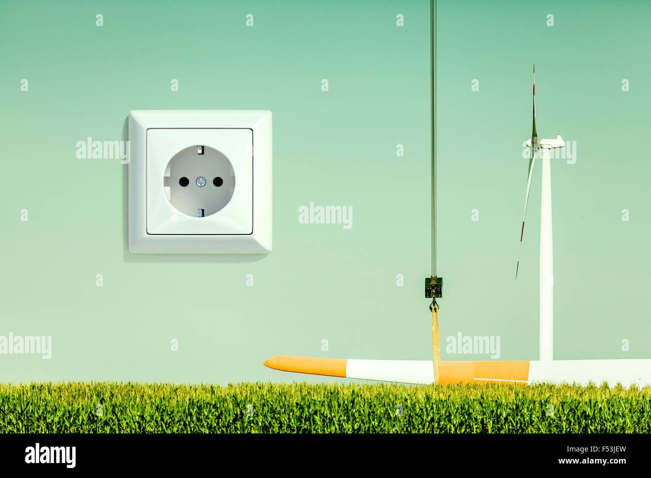 3D, CGI, [M], Symbol, Windenergie, Steckdose, Strom, Energie, Stockbild