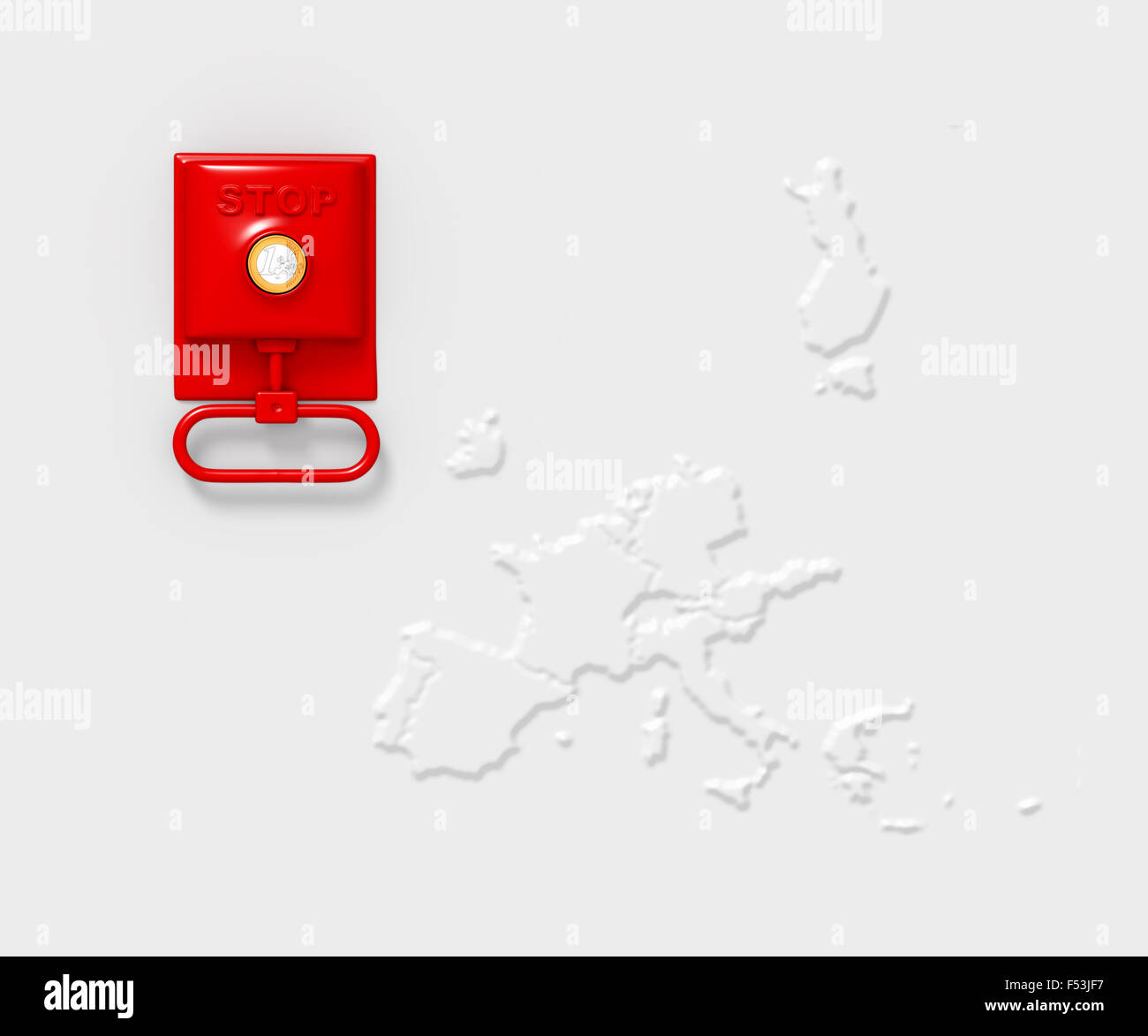 3D, CGI, [M], Symbol, Notbremse, Europa, Karte, Euro, Krise, Stockbild