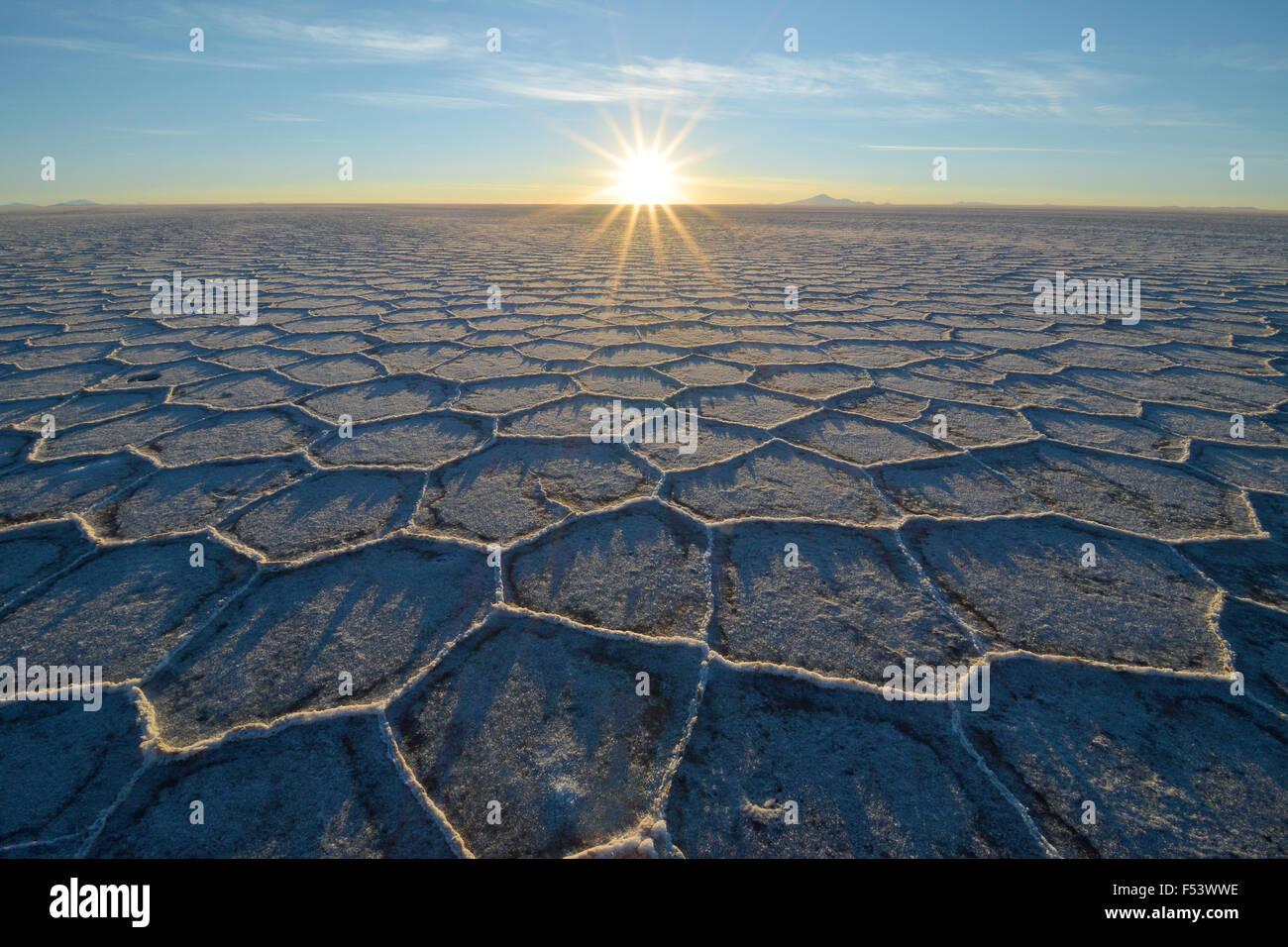 Wabe-Struktur mit Schatten auf einem Salzsee bei Sonnenaufgang, der weltweit größten Vorkommen an Lithium, Stockbild