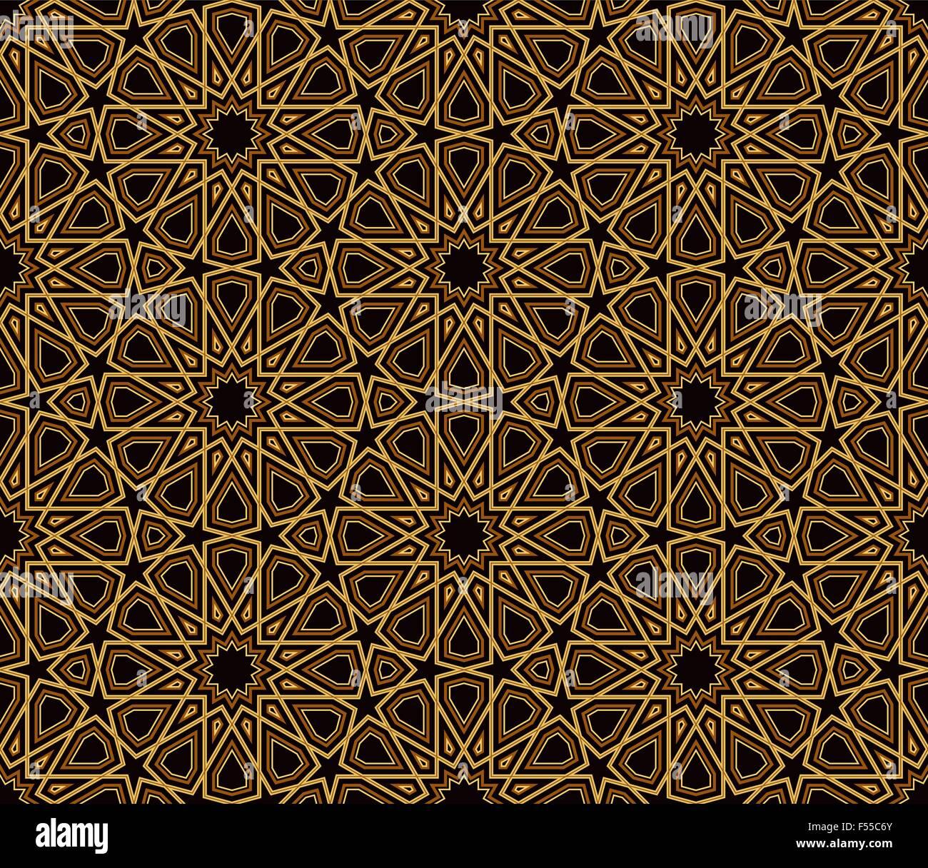 Arabesque Schwarz & Gold Muster, dunklen Hintergrund, Vektor ...