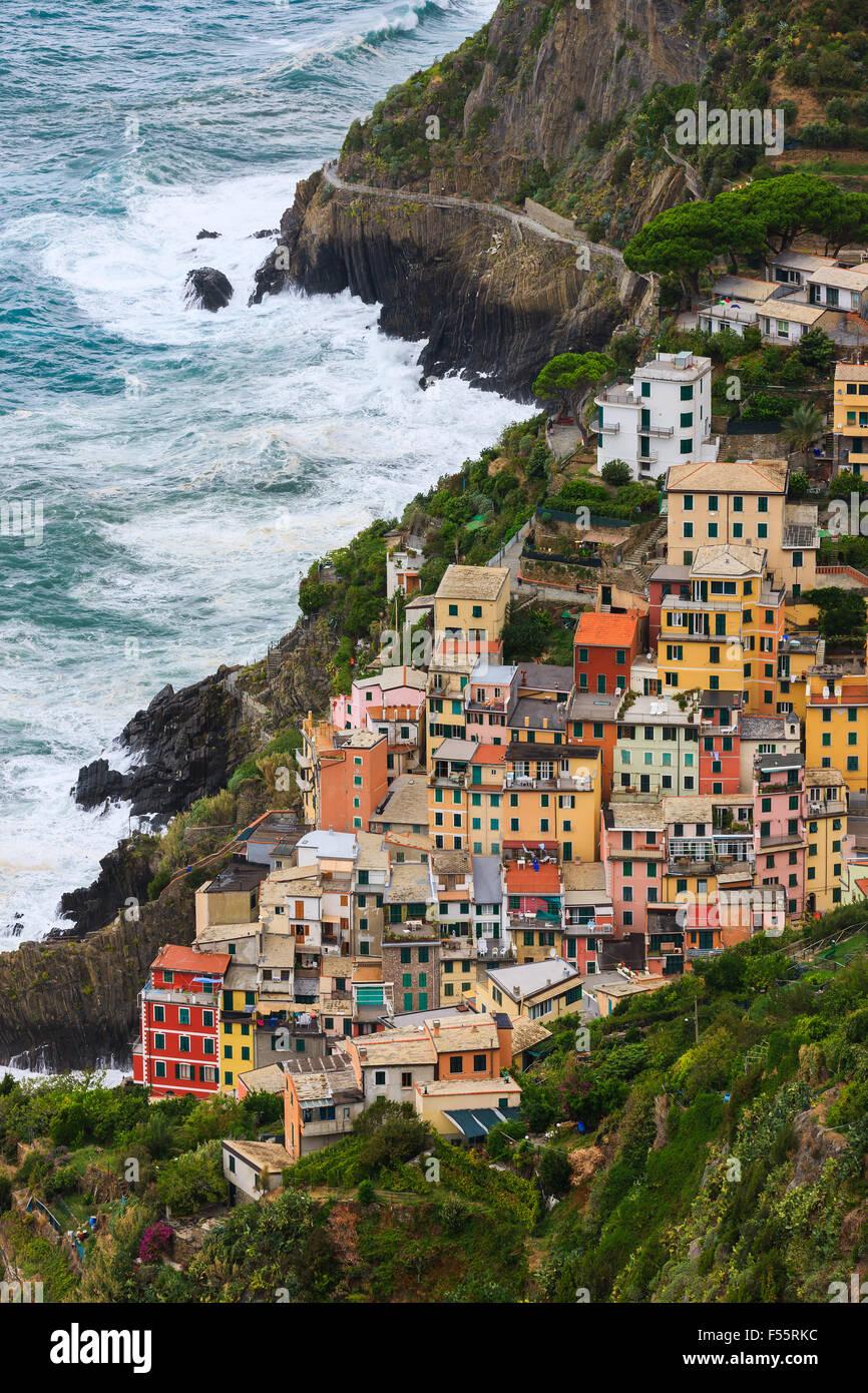 Riomaggiore ist eine Stadt und Gemeinde in der Provinz La Spezia, Ligurien, Nordwest-Italien. Stockbild