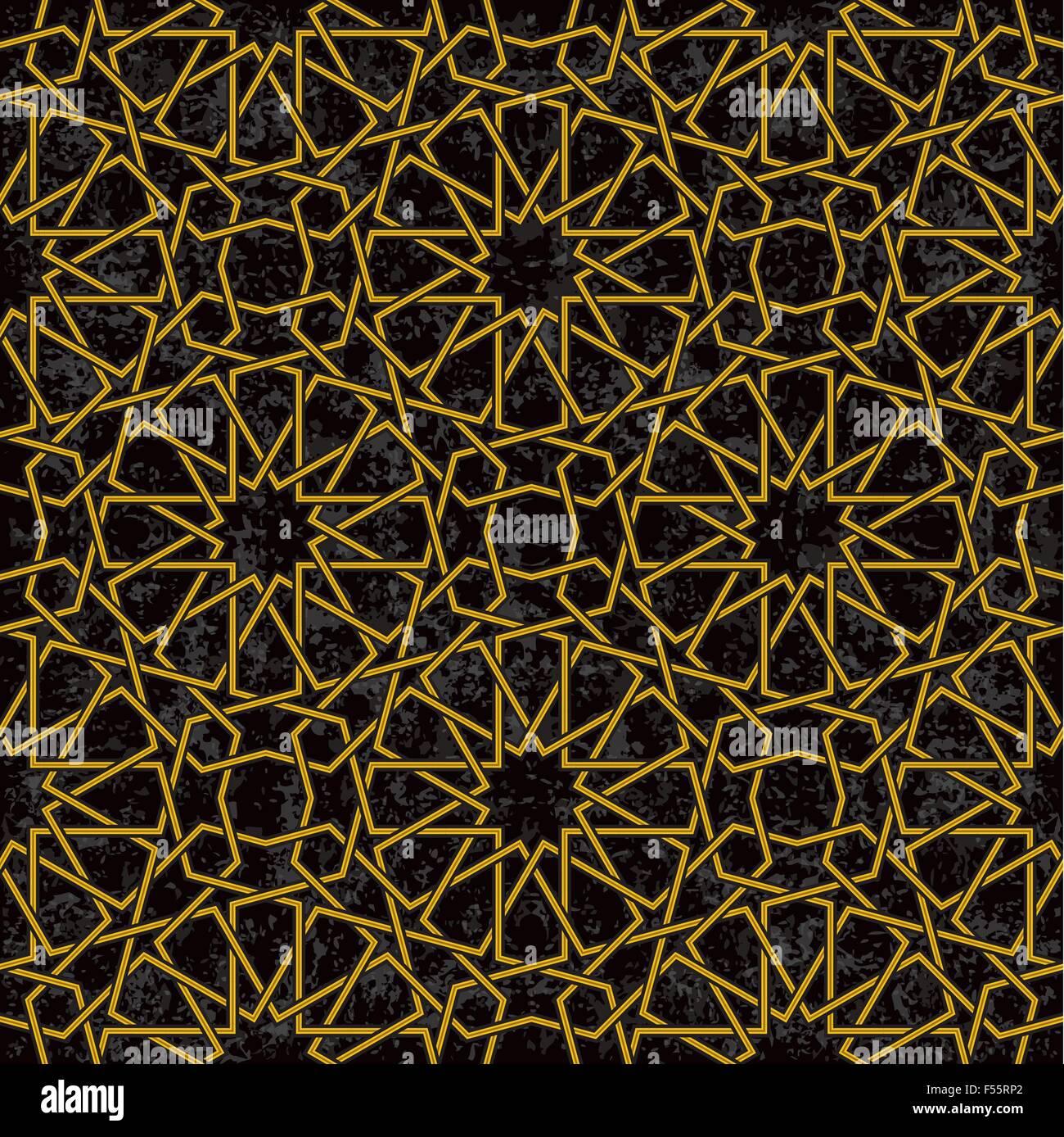 Goldlinie Sternenmuster Hintergrund im arabischen Stil, Vektor-Illustration Stockbild