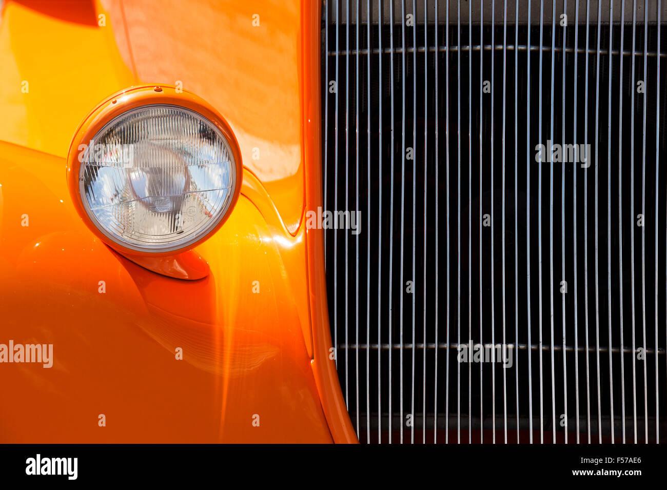 Orange-Ford Hotrod Auto detail Stockbild