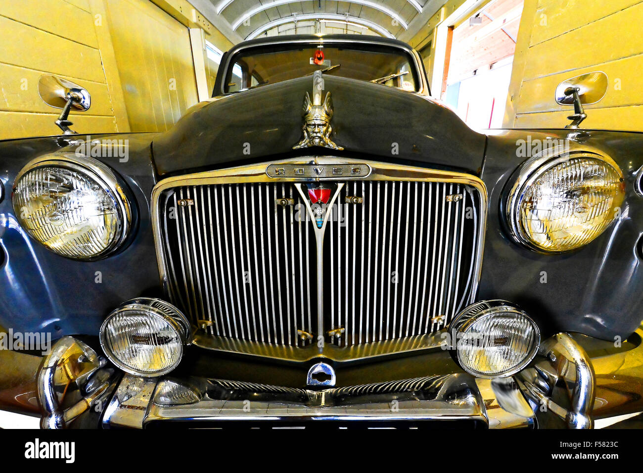 Rover 100 hervorragende Kühler Detail und Viking Stil Galionsfigur Stockbild