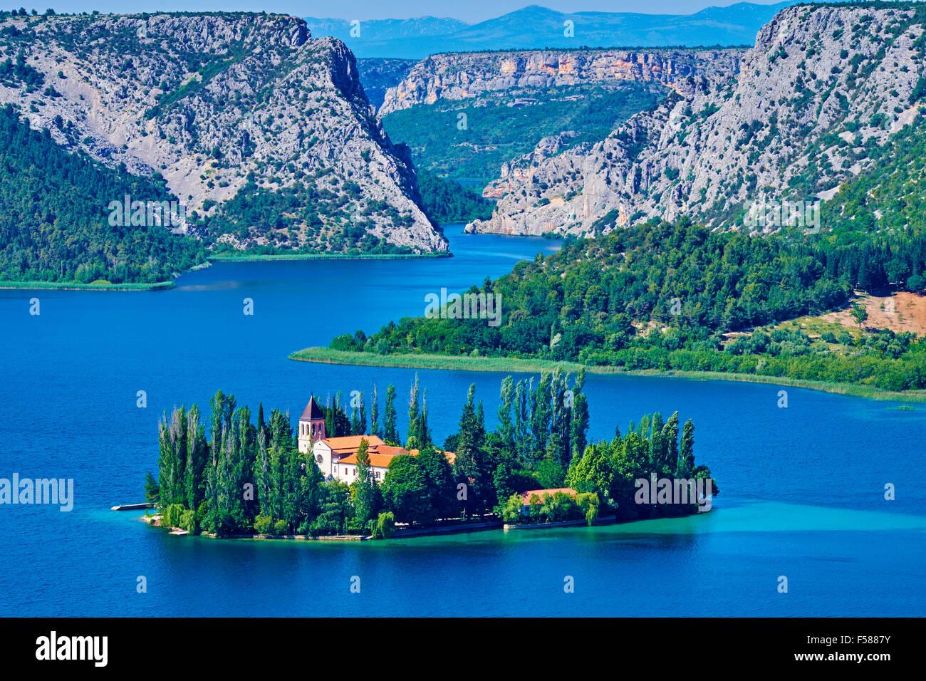 Kroatien, Dalmatien, Sibenik-Knin, Krka Nationalpark, römisch-katholische Franziskaner Kloster Visovac Stockbild