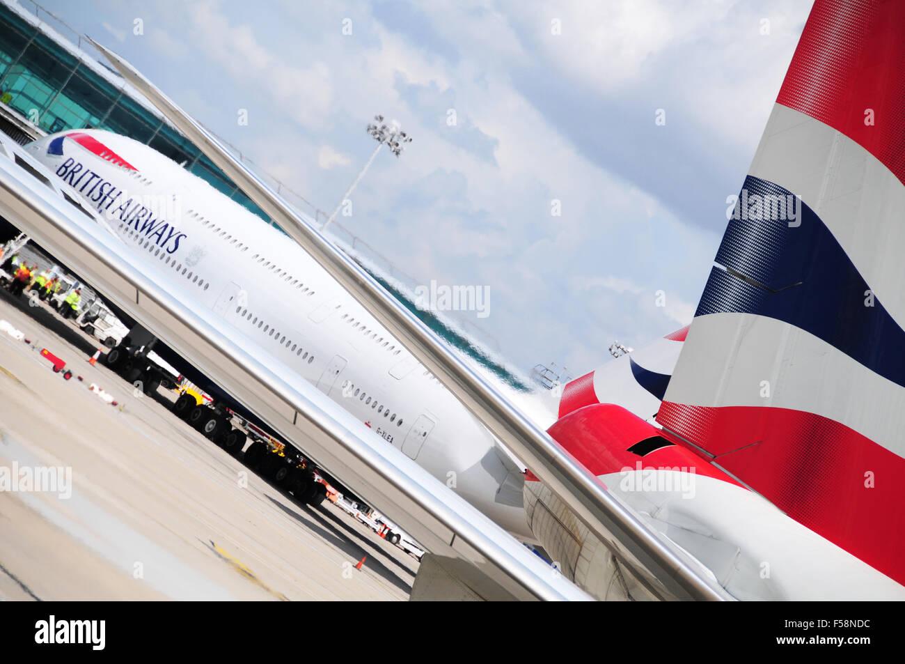 British Airways A380 am Flughafen Stansted UK Stockbild