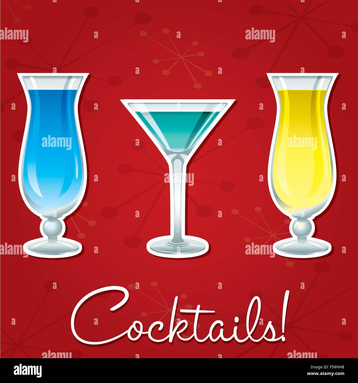 Cocktail Karte.Hellen Retro Cocktail Karte Im Vektorformat Vektor Abbildung Bild
