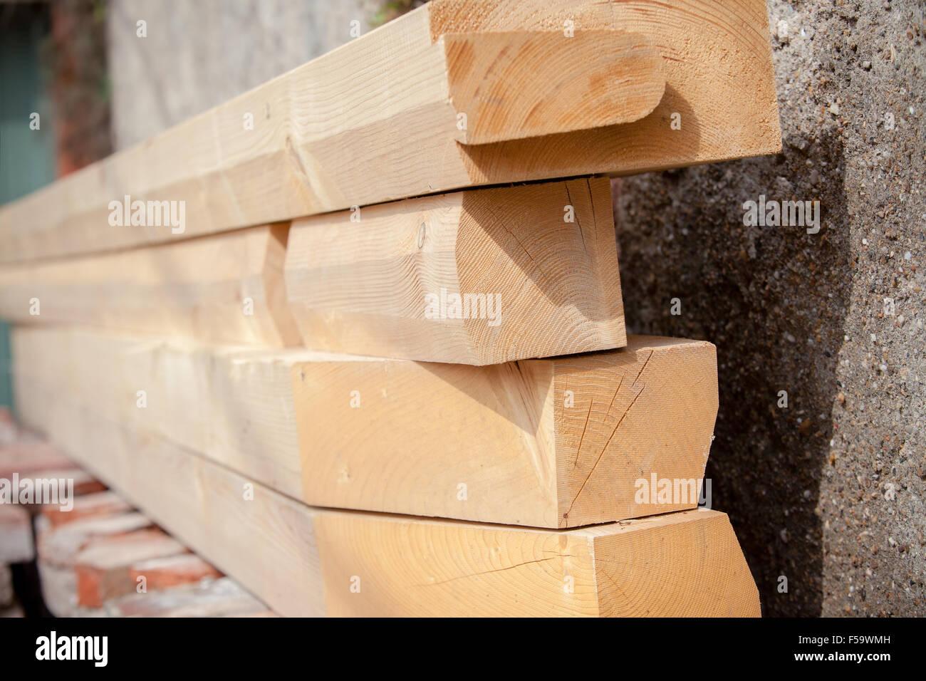Construction New Wooden House Beams Stockfotos & Construction New ...
