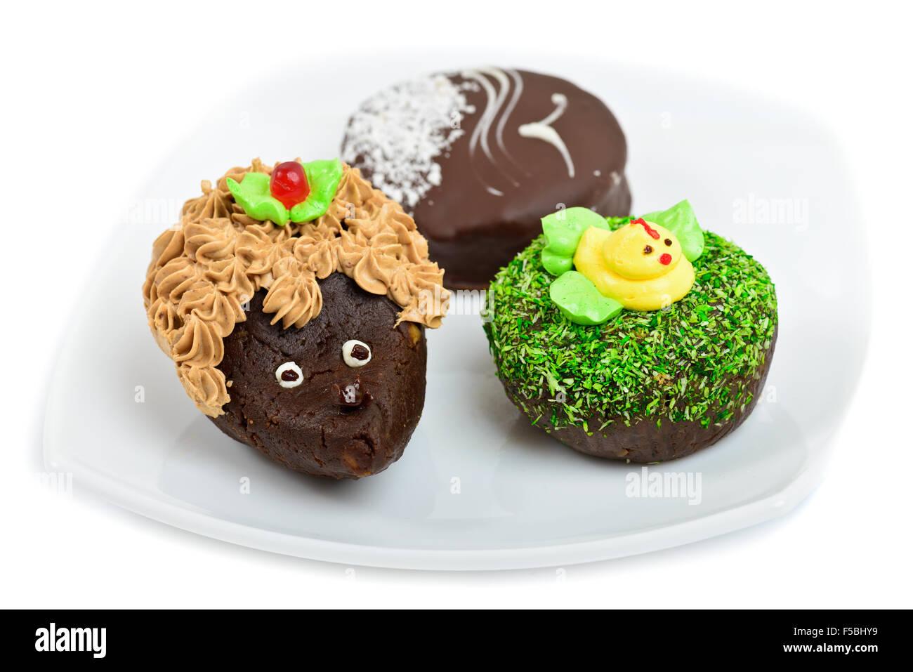Kunstlerische Schokolade Kuchen Verziert Als Igel Ente Und Mowe