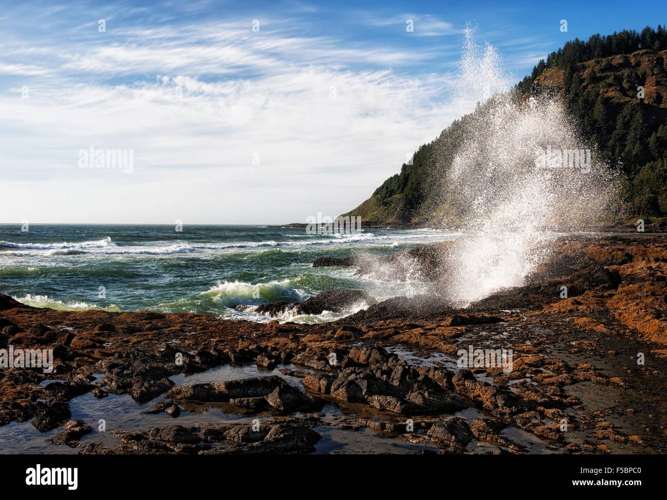 Wellen brechen gegen die felsige Küste Oregons Cape Perpetua Scenic Area. Stockbild