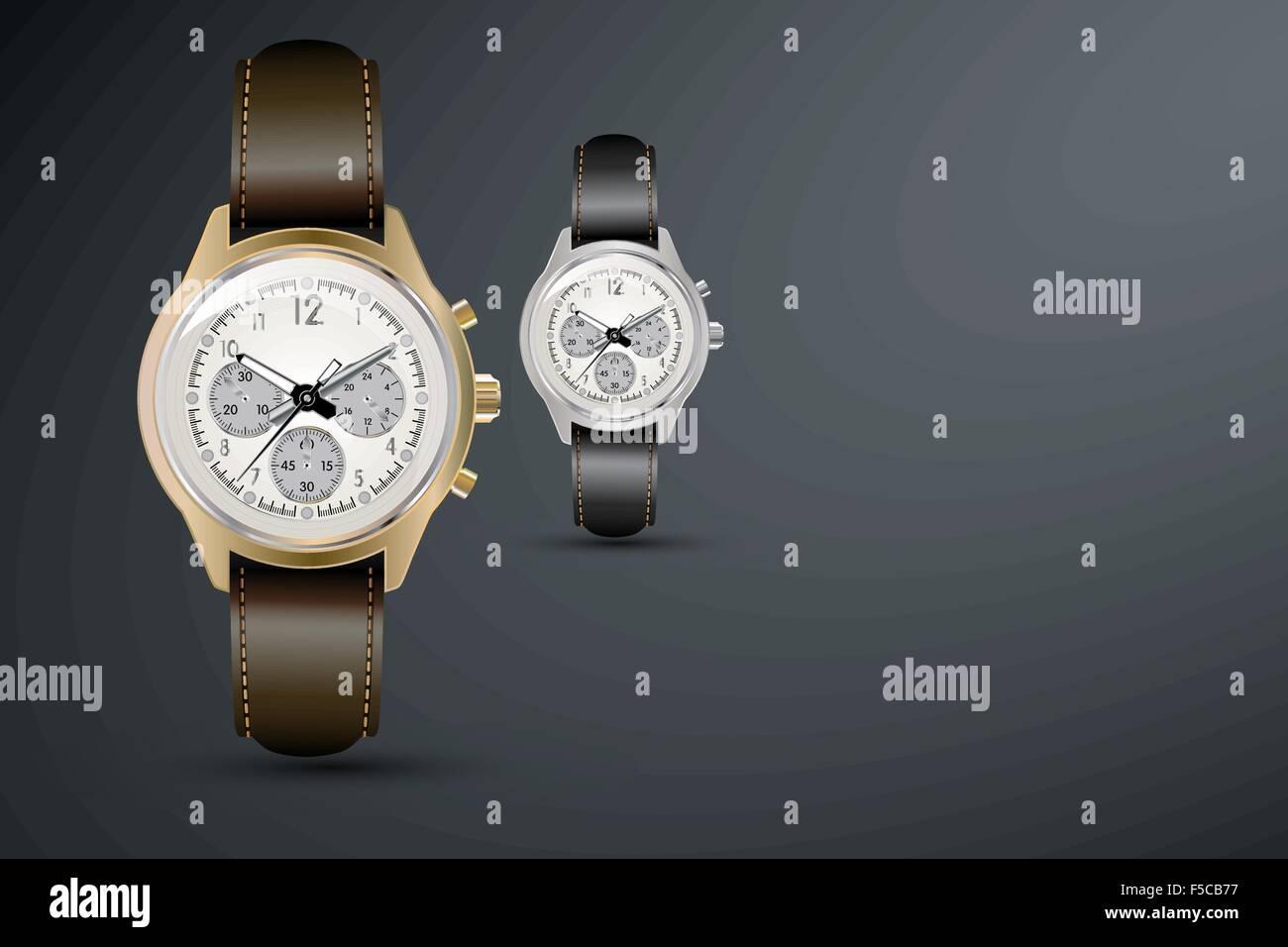 Stilvolle detaillierte Uhr auf einem dunklen Hintergrund. Vektor Stockbild