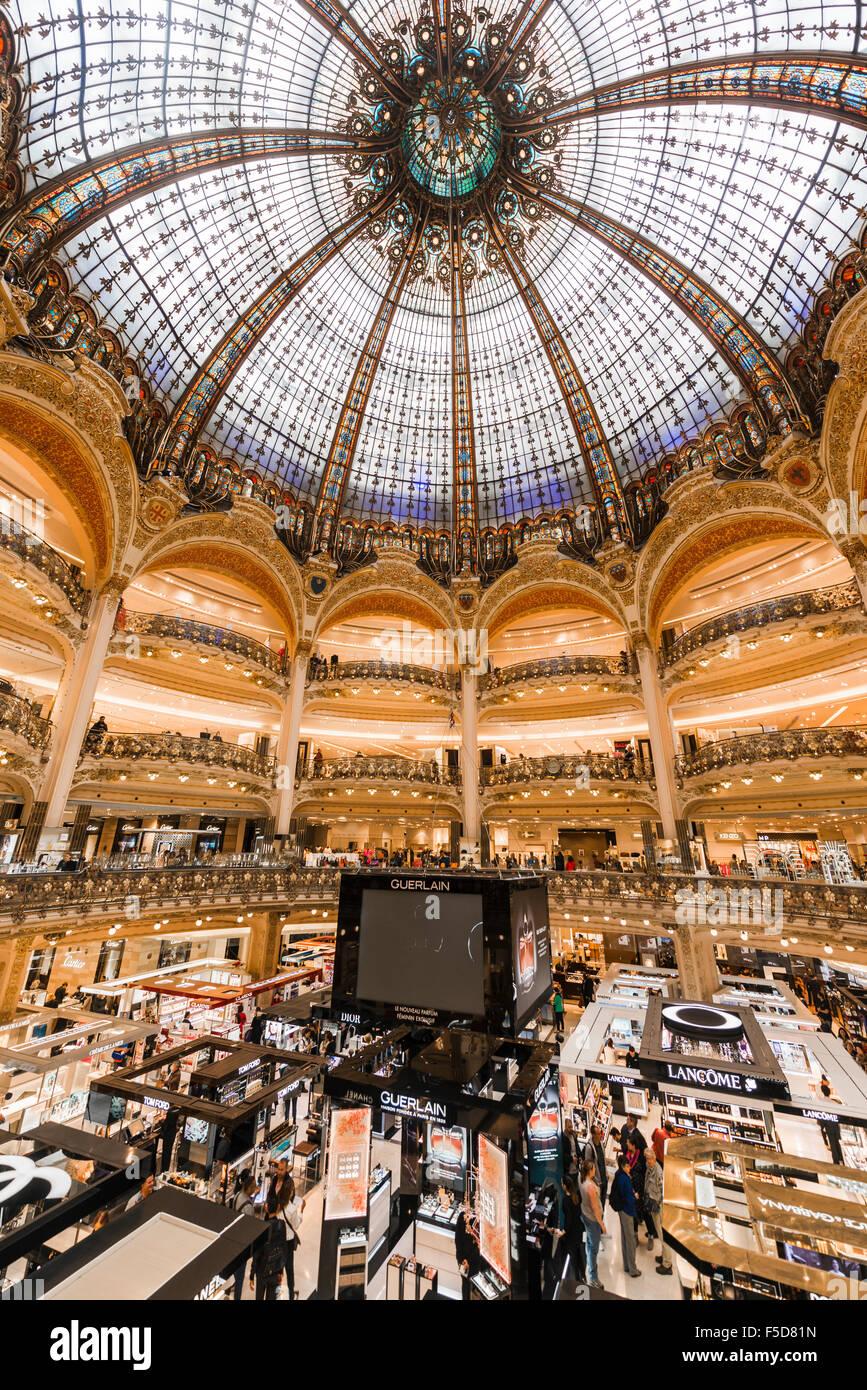 Galeries Lafayette Kuppel, Kaufhaus, Paris, Ile de France, Frankreich Stockbild