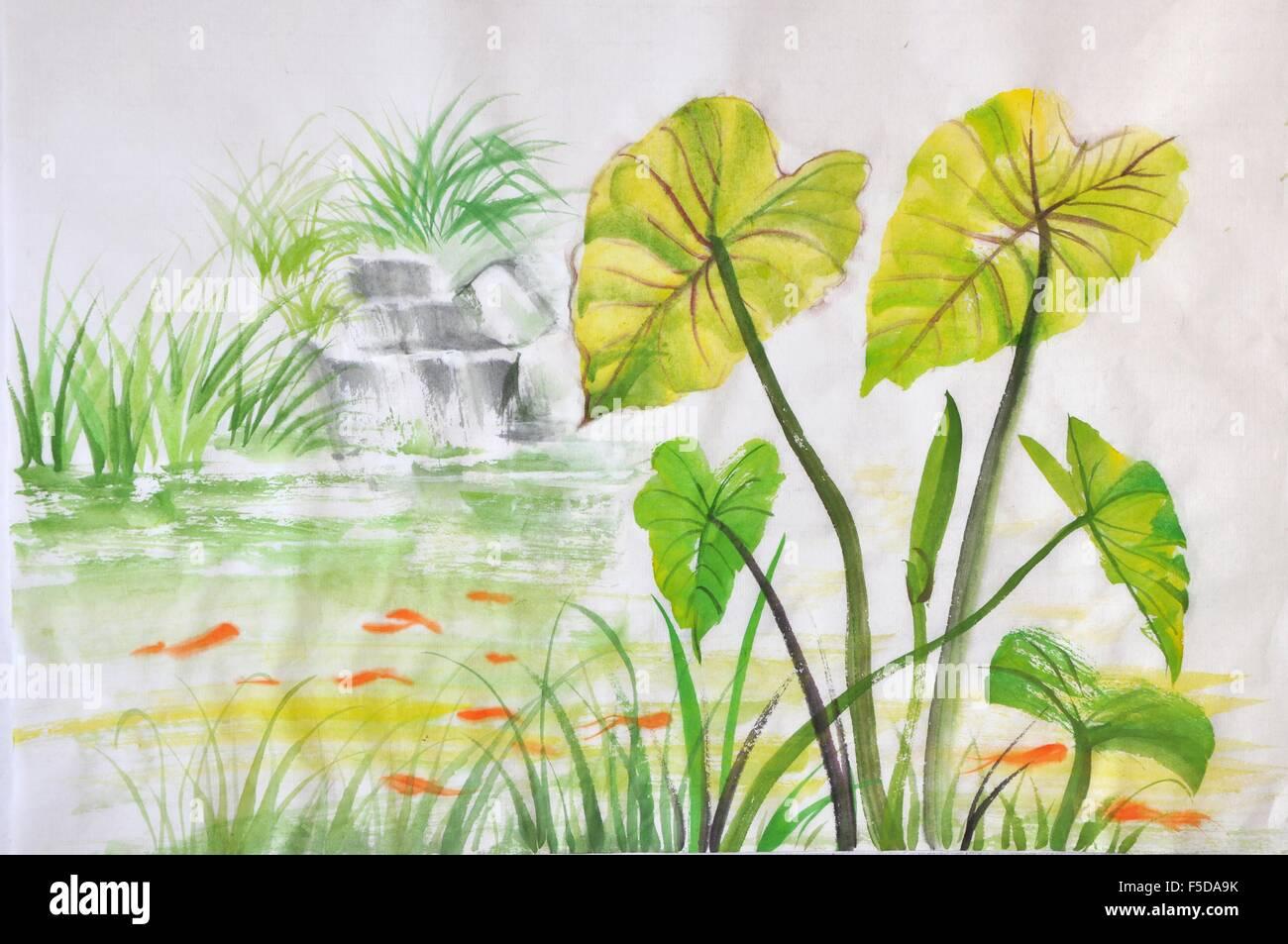 Aquarell von gr nen lotus l sst auf einen teich mit roten for Teich mit fischen