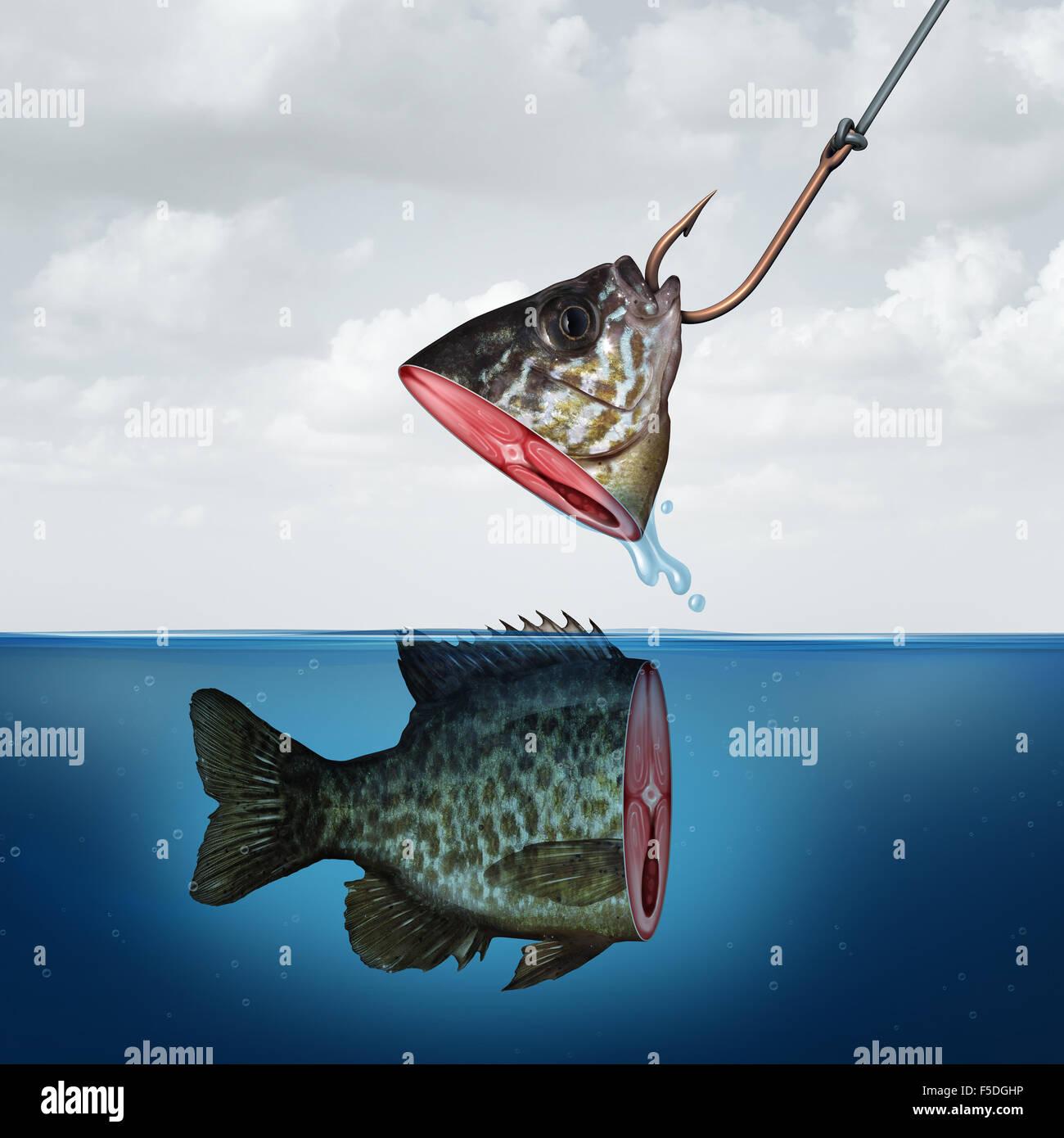 Enttäuschenden Gewinn-Business-Konzept als eine partielle Fischkopf am Haken mit übereinstimmed Rest seines Stockbild