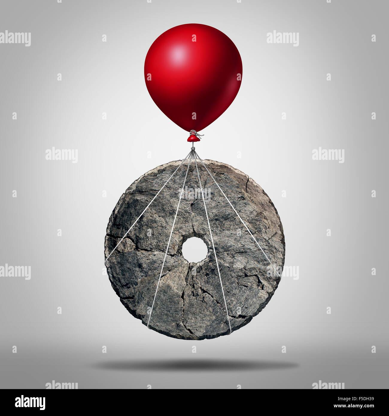 Fortschritt und Erfindung Technologierevolution, Symbol als eine frühe Stein Rad durch einen Ballon als Modernisierung Stockbild