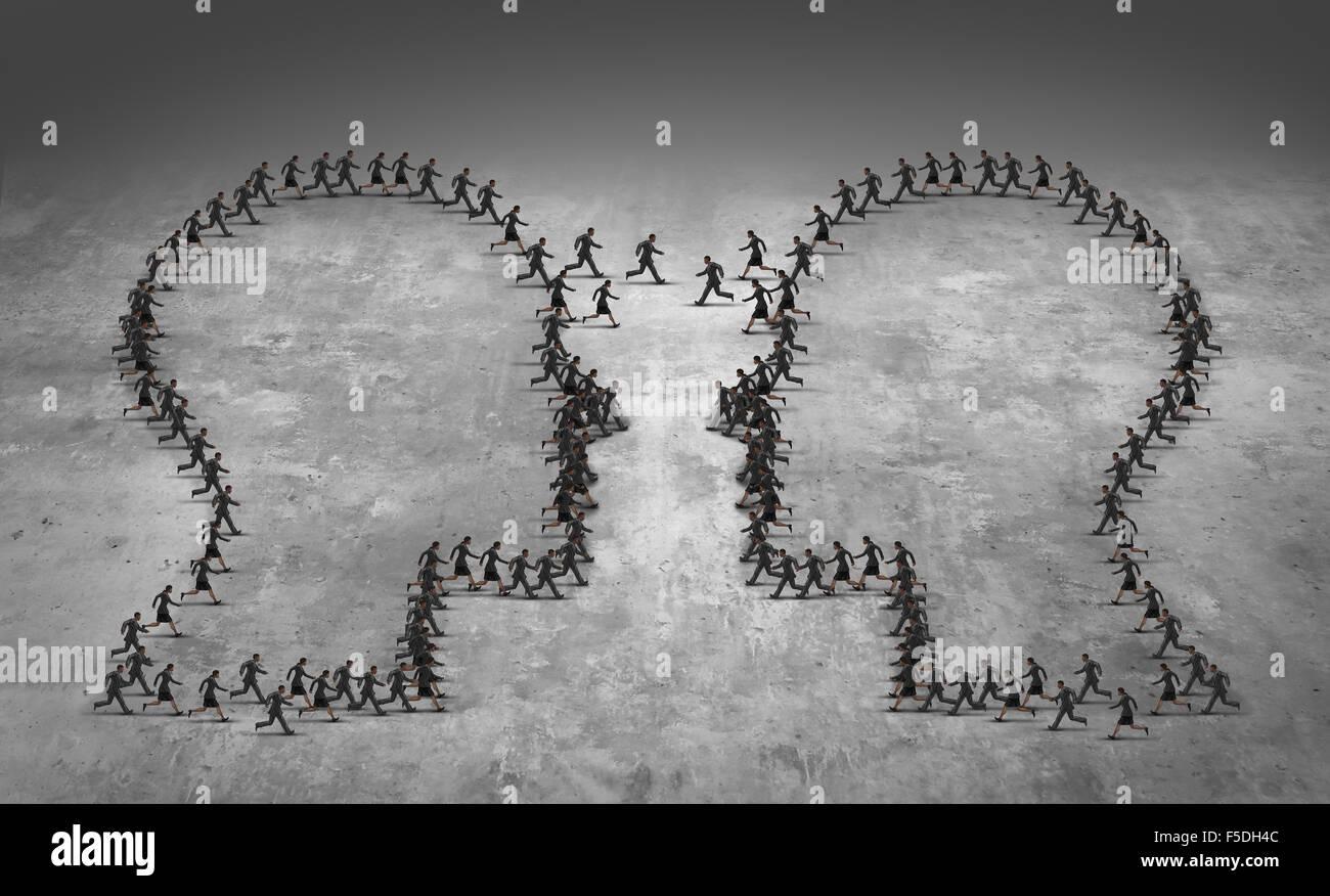 Teamarbeit-Führung-Business-Konzept oder Mitarbeiter Wilderei Symbol als eine Gruppe Geschäftsleute geprägt Stockbild
