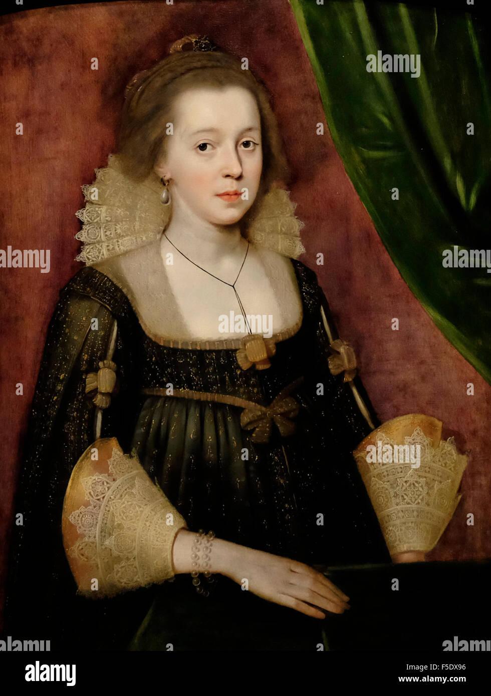 Porträt einer jungen Dame - Paul van Somer über 1620 Stockbild