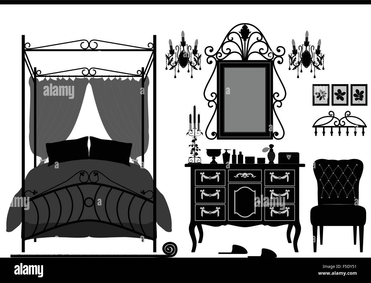 Königliche Schlafzimmer Zimmer Alte Antike Viktorianische Möbel