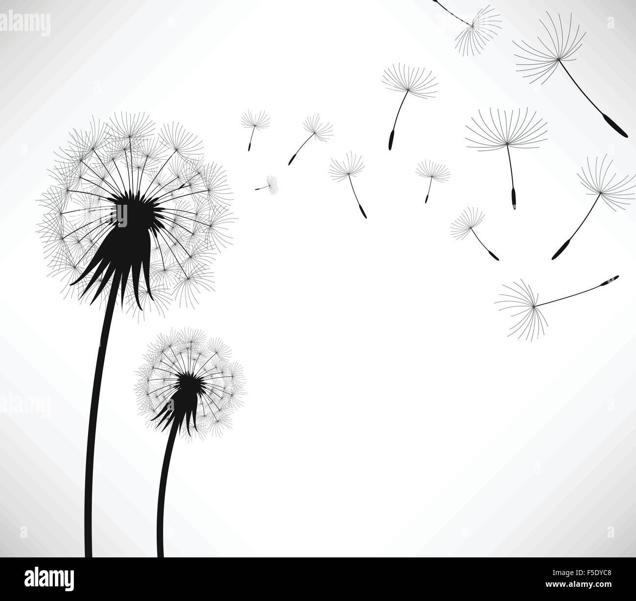 Löwenzahn Wind Blow Blume Stock Vektor