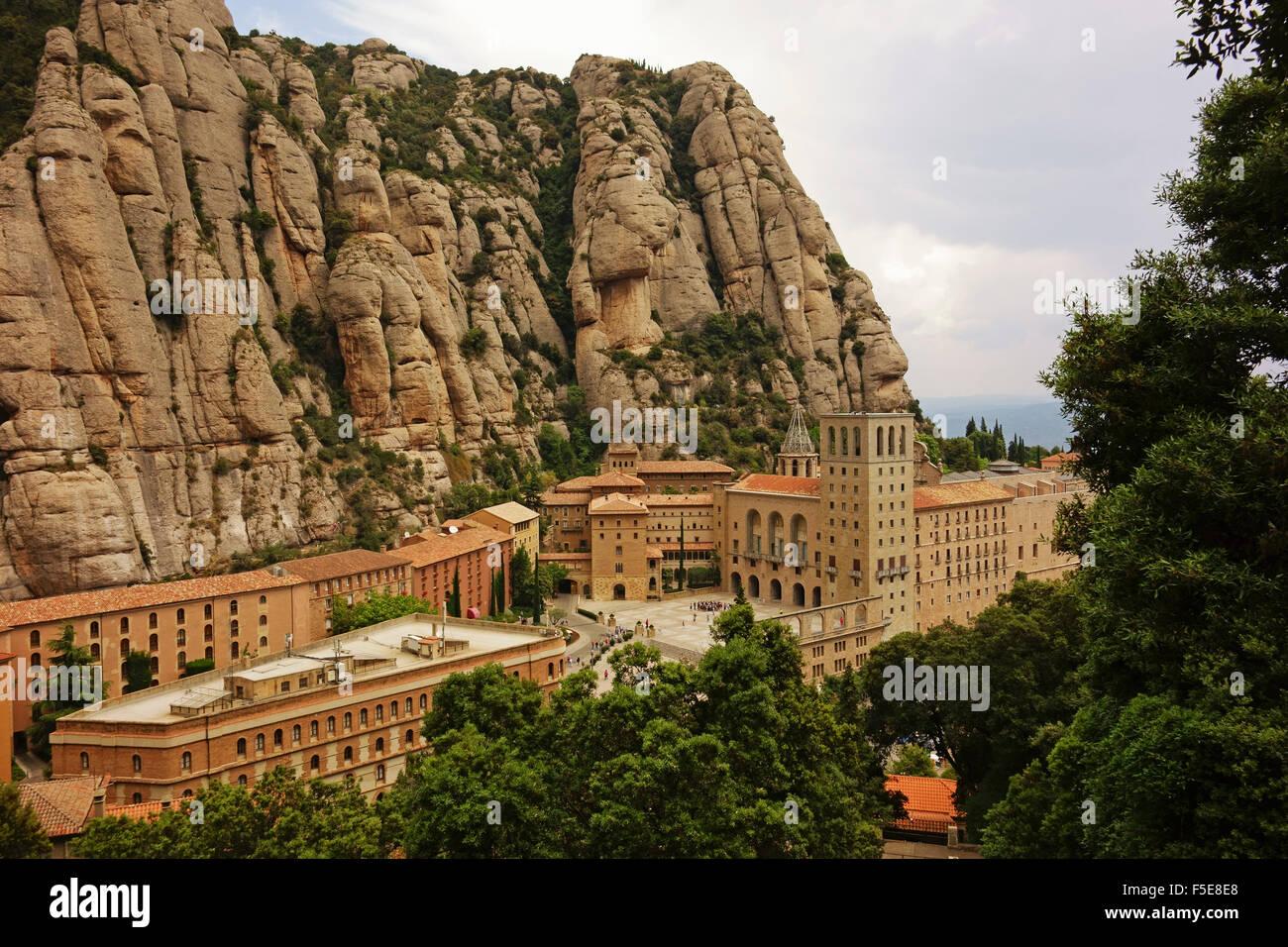 Kloster, Berg Montserrat, in der Nähe von Barcelona, Katalonien, Spanien, Europa Stockbild