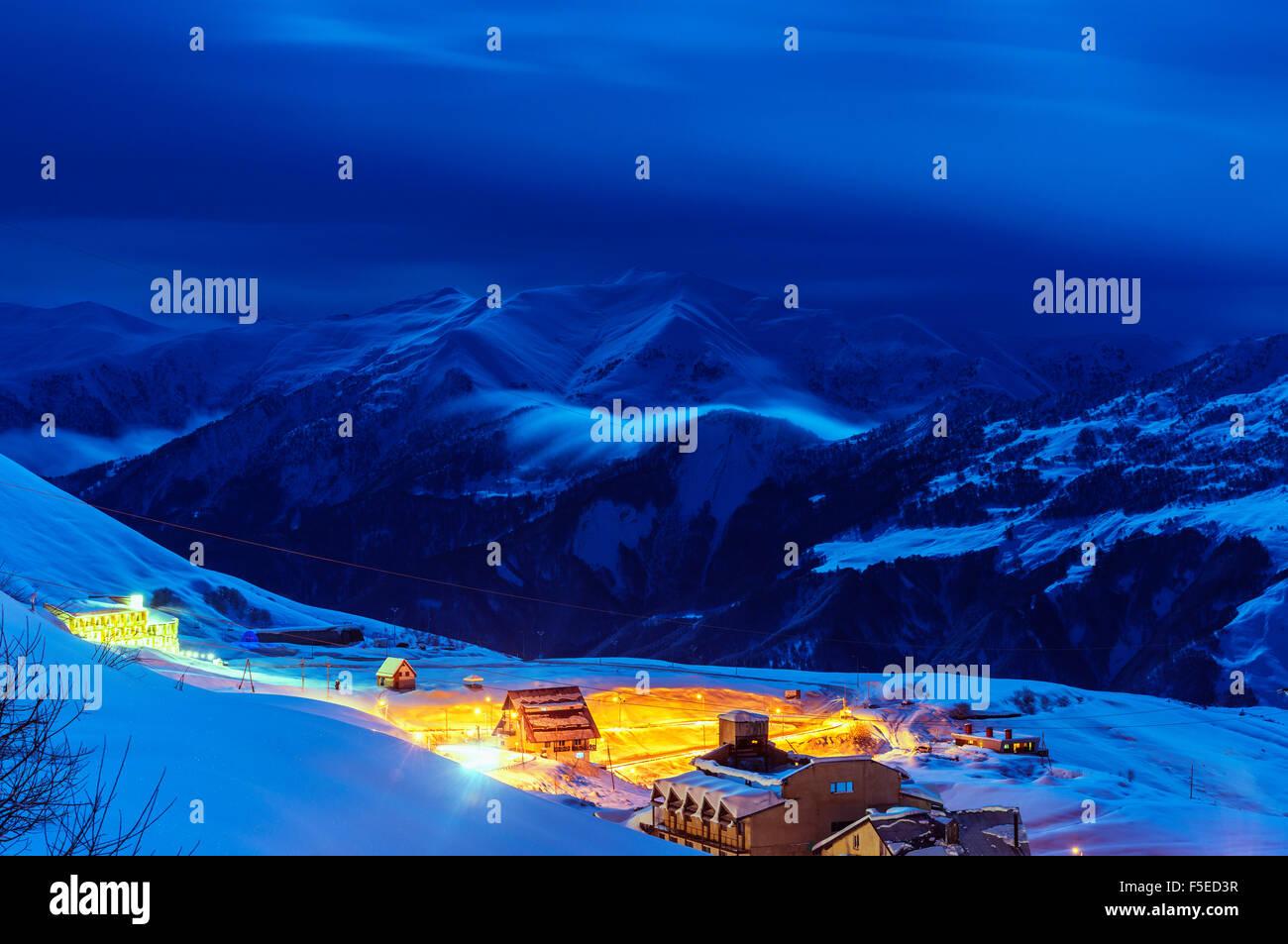 Gudauri Schigebiet, Georgia, Caucasus Region, Zentral-Asien, Asien Stockbild