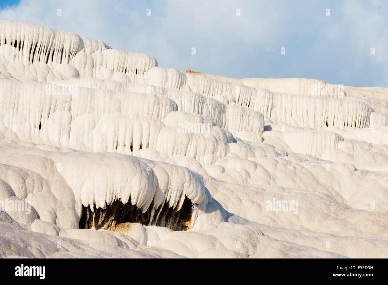 Weißer Travertin Becken, Pamukkale, UNESCO-Weltkulturerbe, westlichen Anatolien, Türkei, Kleinasien, Eurasien Stockbild