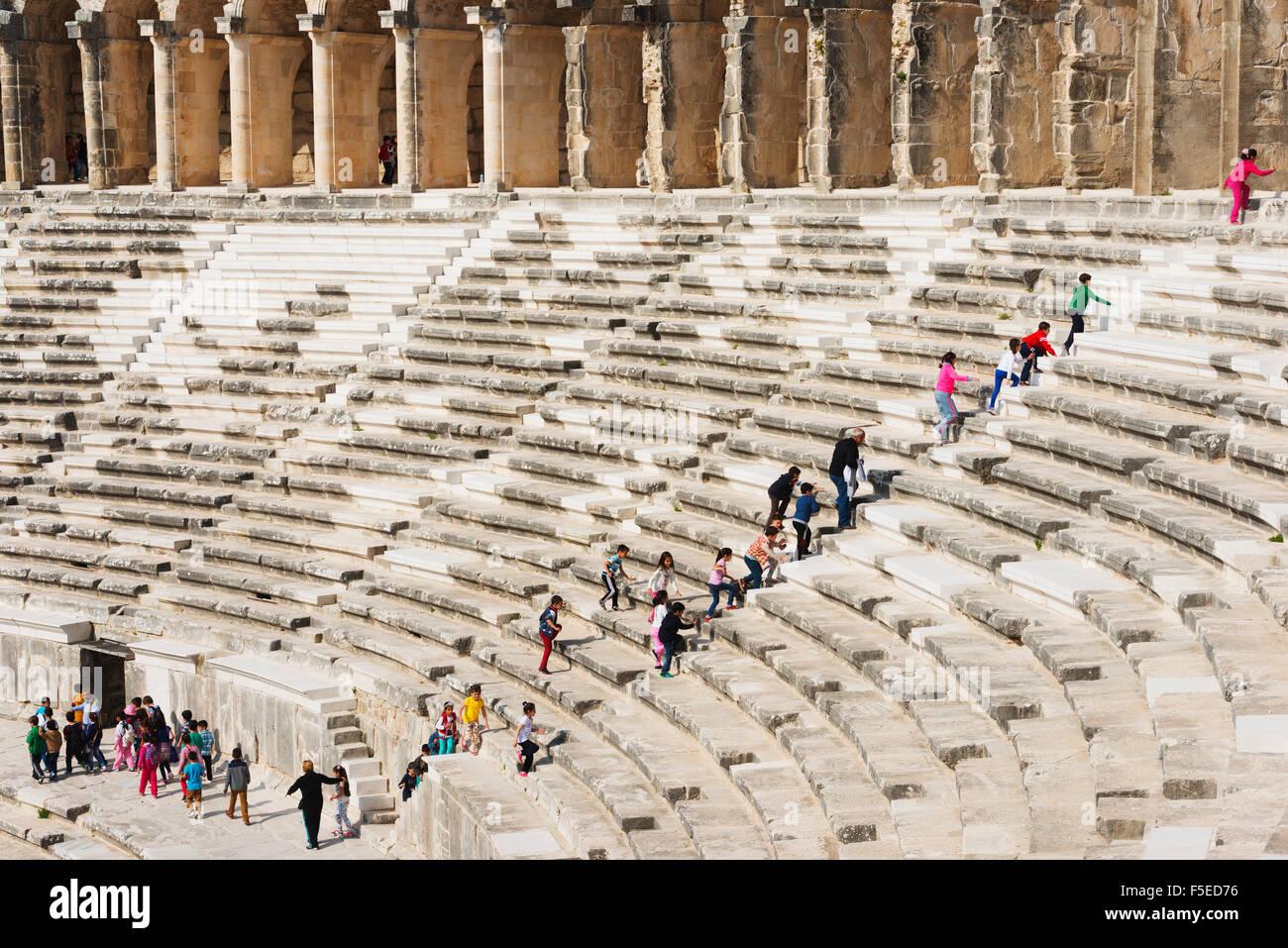 Im zweiten Jahrhundert römische Theater, erbaut von Kaiser Marcus Aurelius, Aspendos, Pamphylien, Anatolien, Stockbild