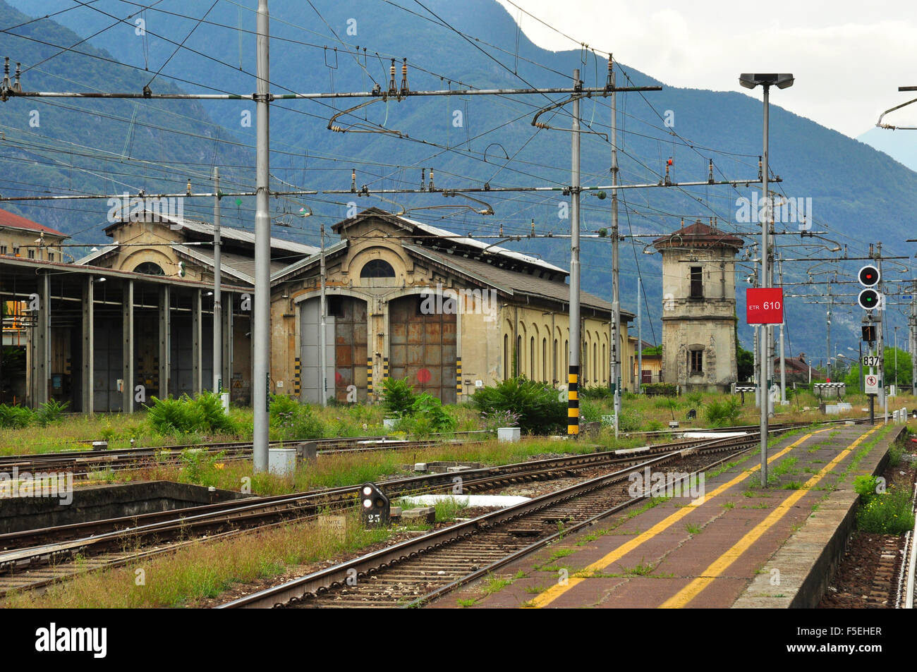 Bahntechnische Bauten und Infrastruktur, Domodossola, Italien Stockbild