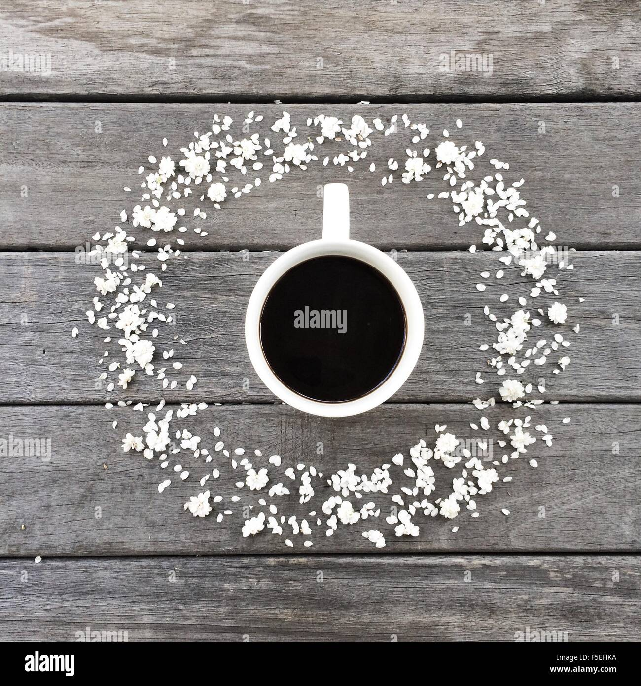 Becher Kaffee, umgeben von einem Kreis von weißen Blütenblättern Stockbild