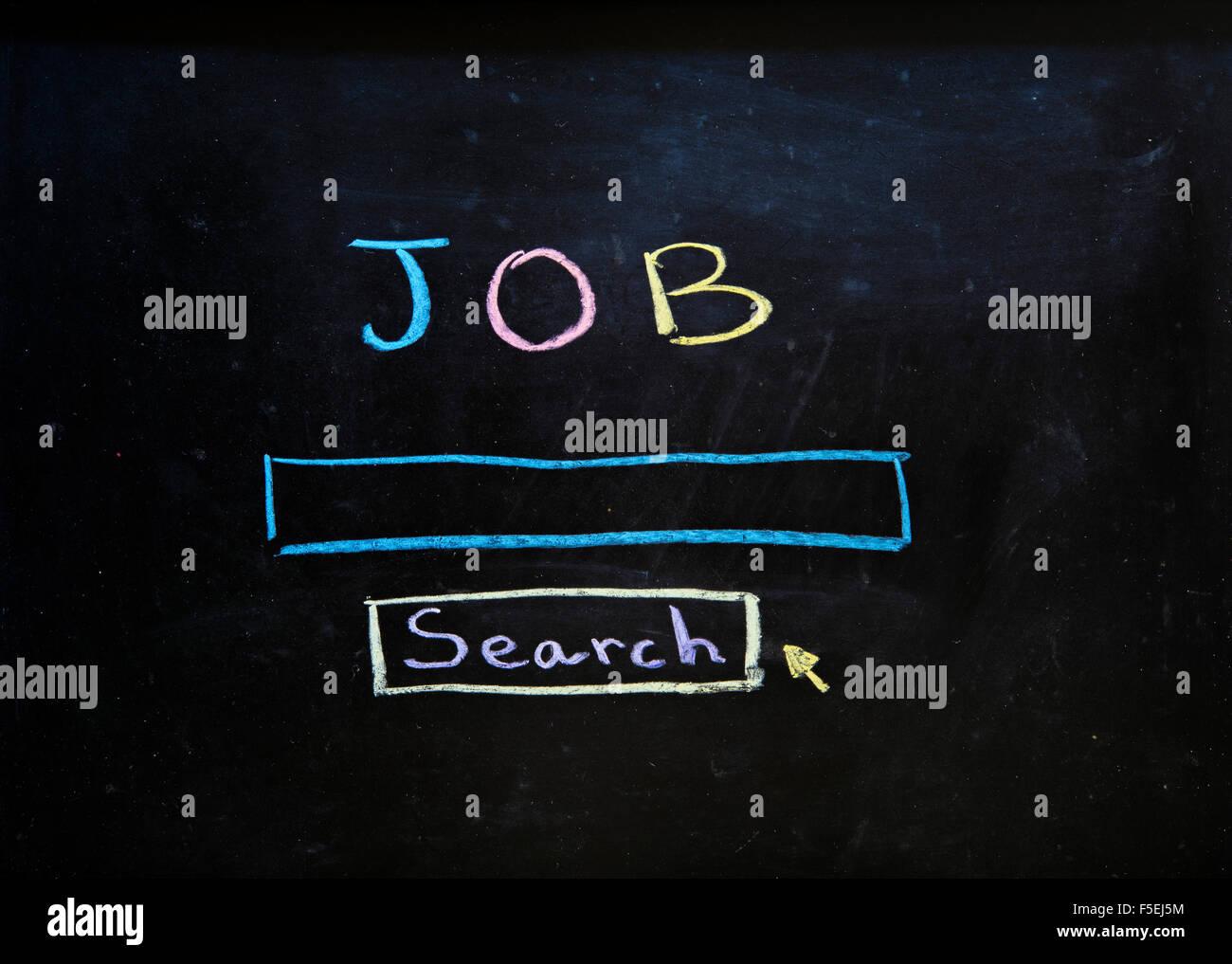 Job-Suche in Kreide auf eine Tafel geschrieben Stockbild