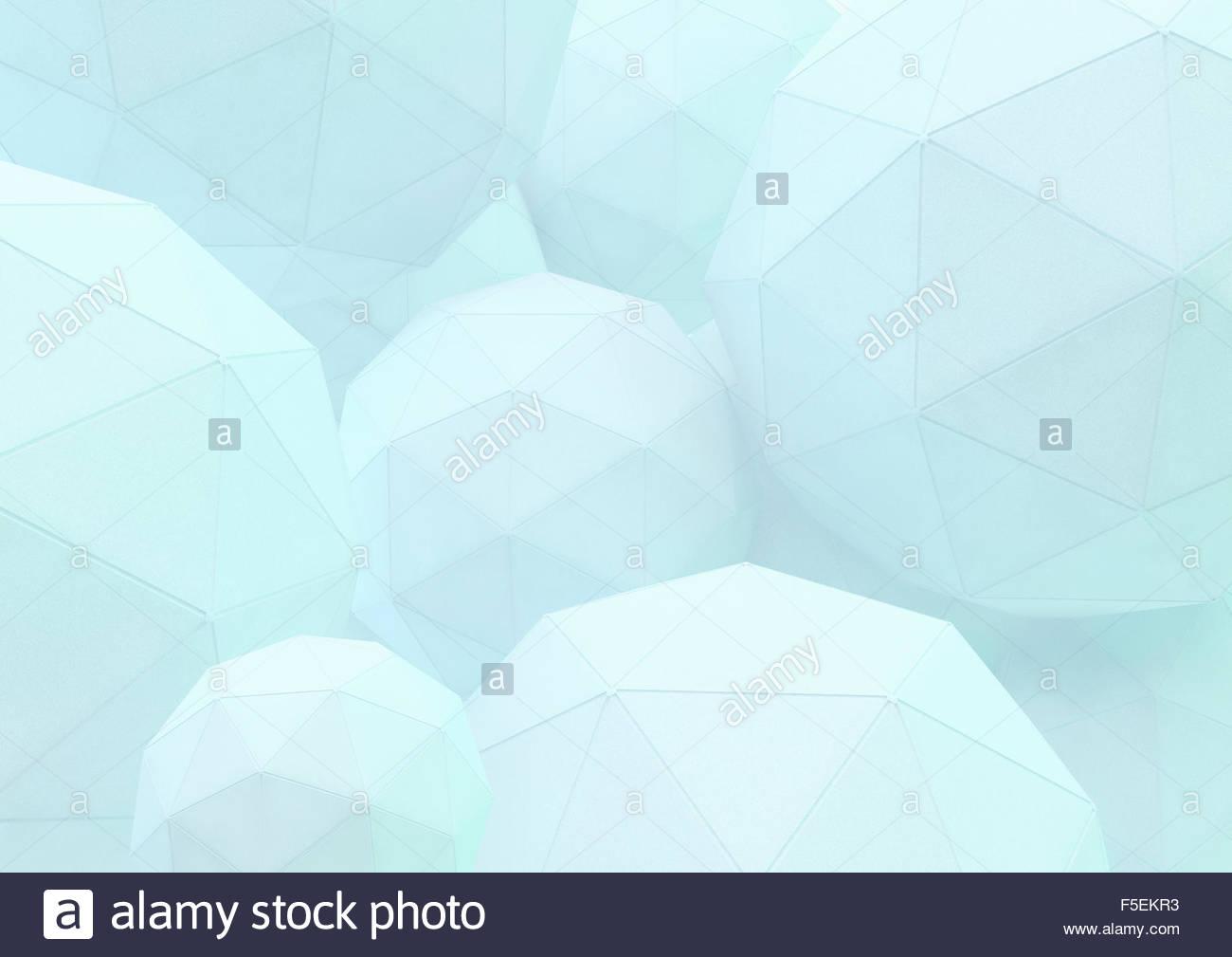 Abstrakte drei dimensionalen Raster auf low-Poly-Kugeln Stockbild