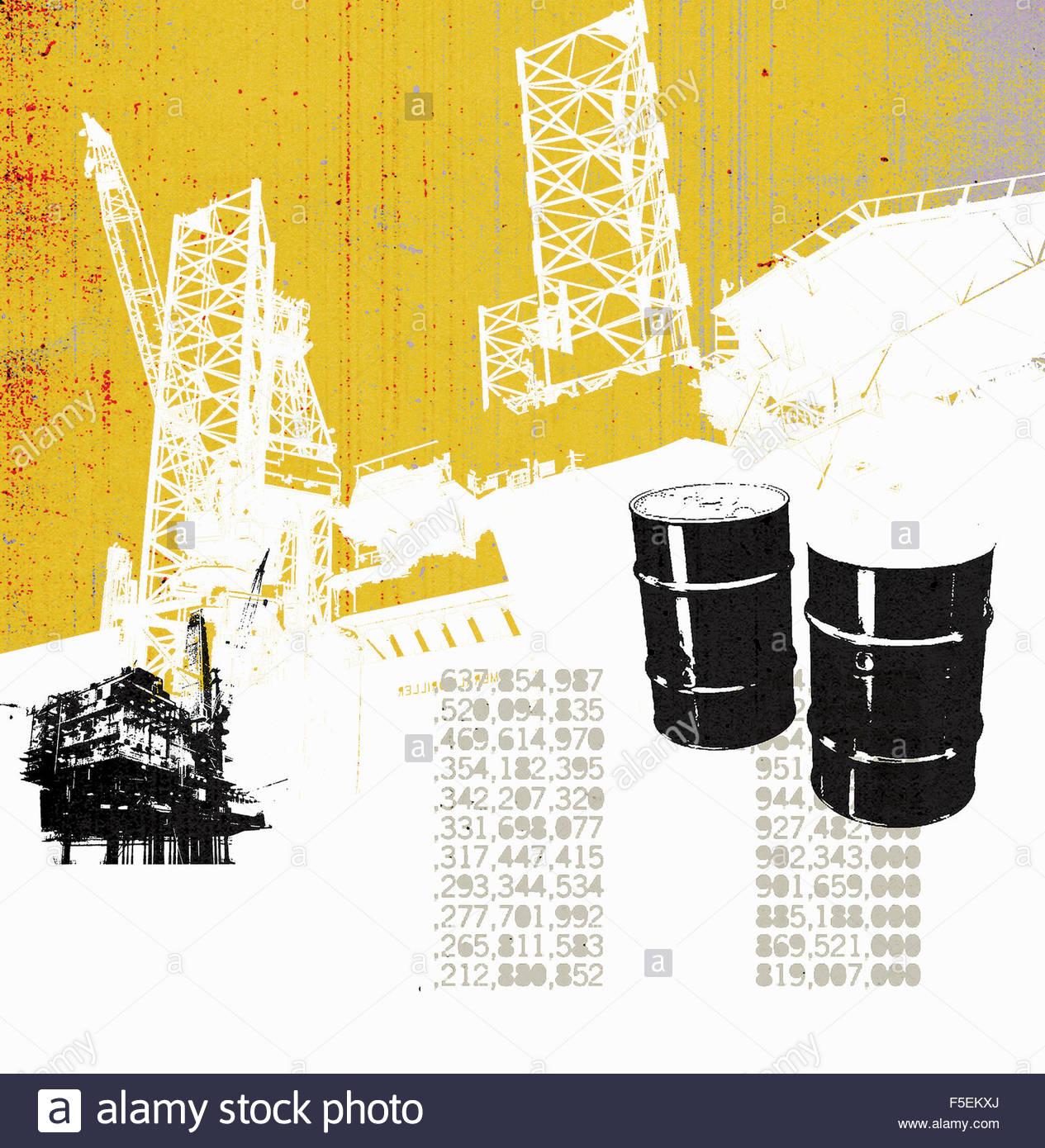 Barrel Erdöl und Öl-Produktions-Plattform mit Aktienkursen Stockbild