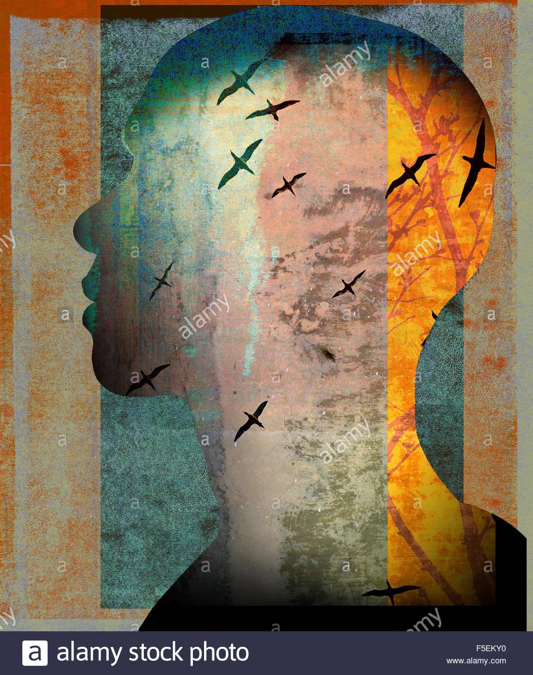 Vögel fliegen in den Männern den Kopf Stockbild