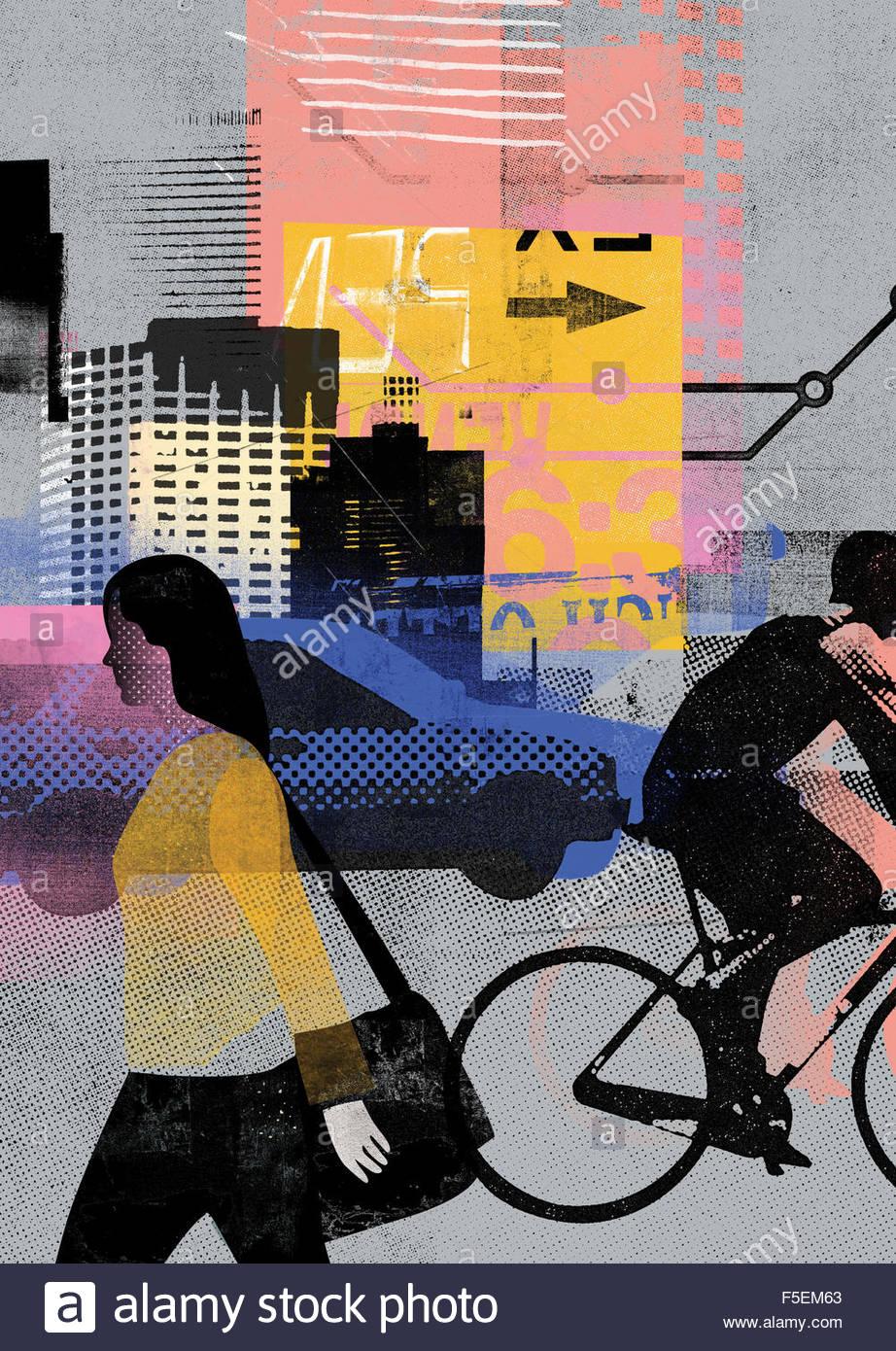 Stadtverkehr und Menschen in Bewegung Stockbild