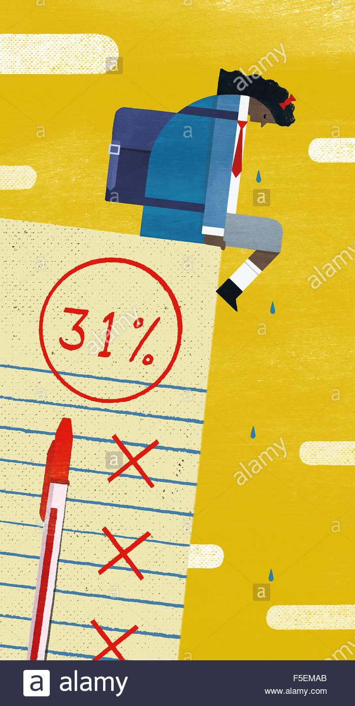 Schulmädchen weint mit Enttäuschung über Prüfungsergebnisse Stockbild