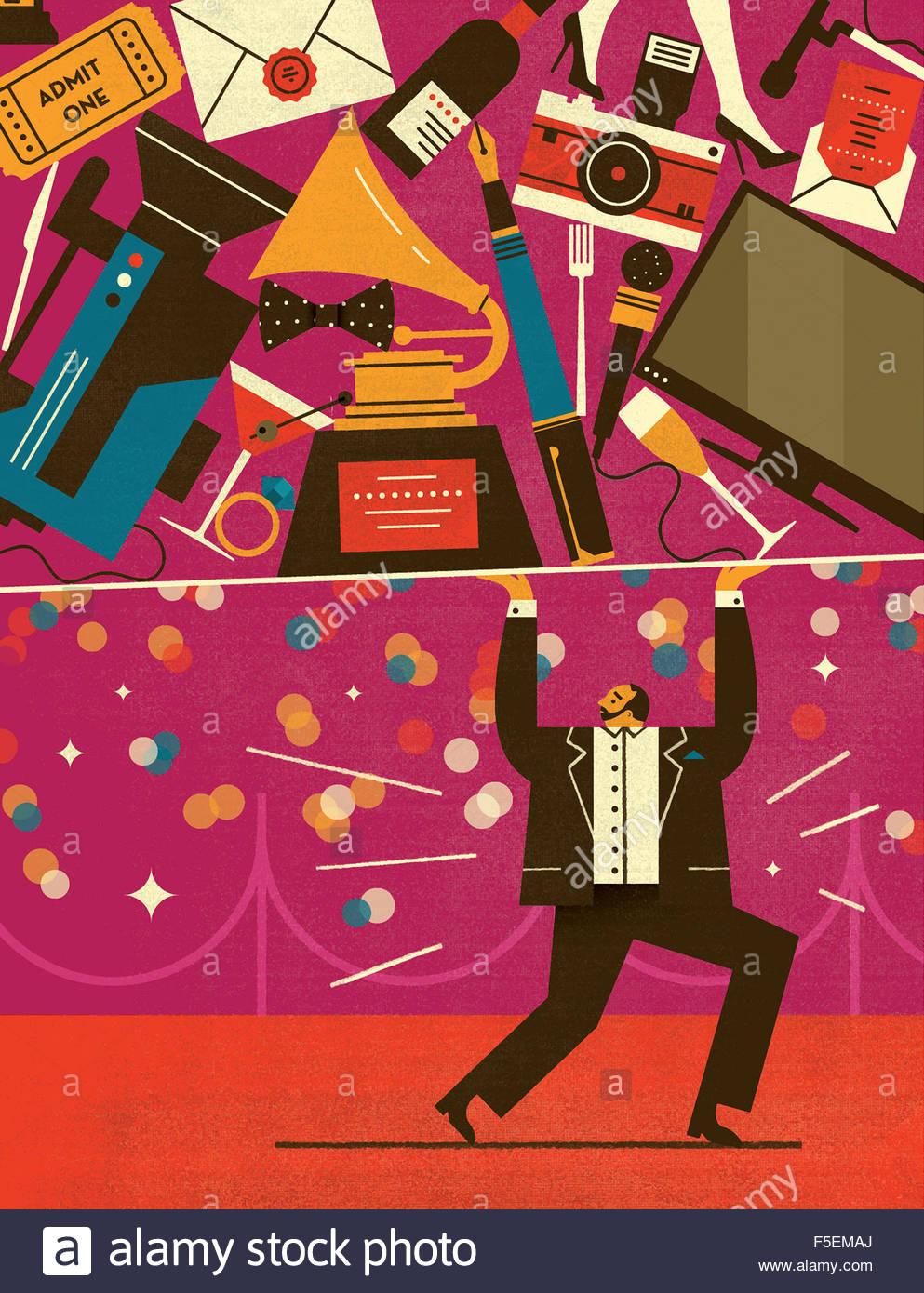 Entertainer hält viel Unterhaltung, Kultur und Freizeit Stockbild