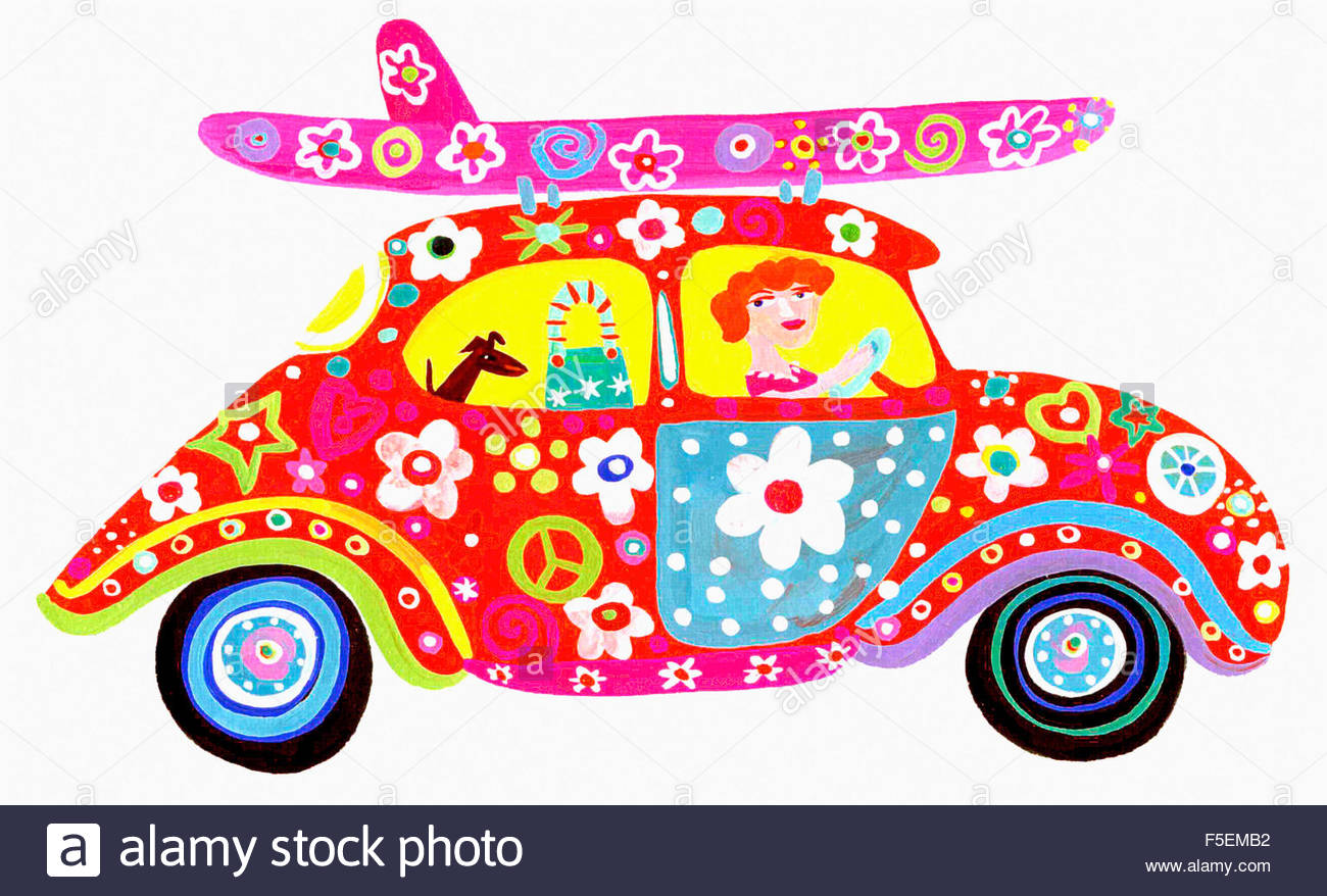 autofahrerin hippie flower power auto mit surfbrett auf. Black Bedroom Furniture Sets. Home Design Ideas