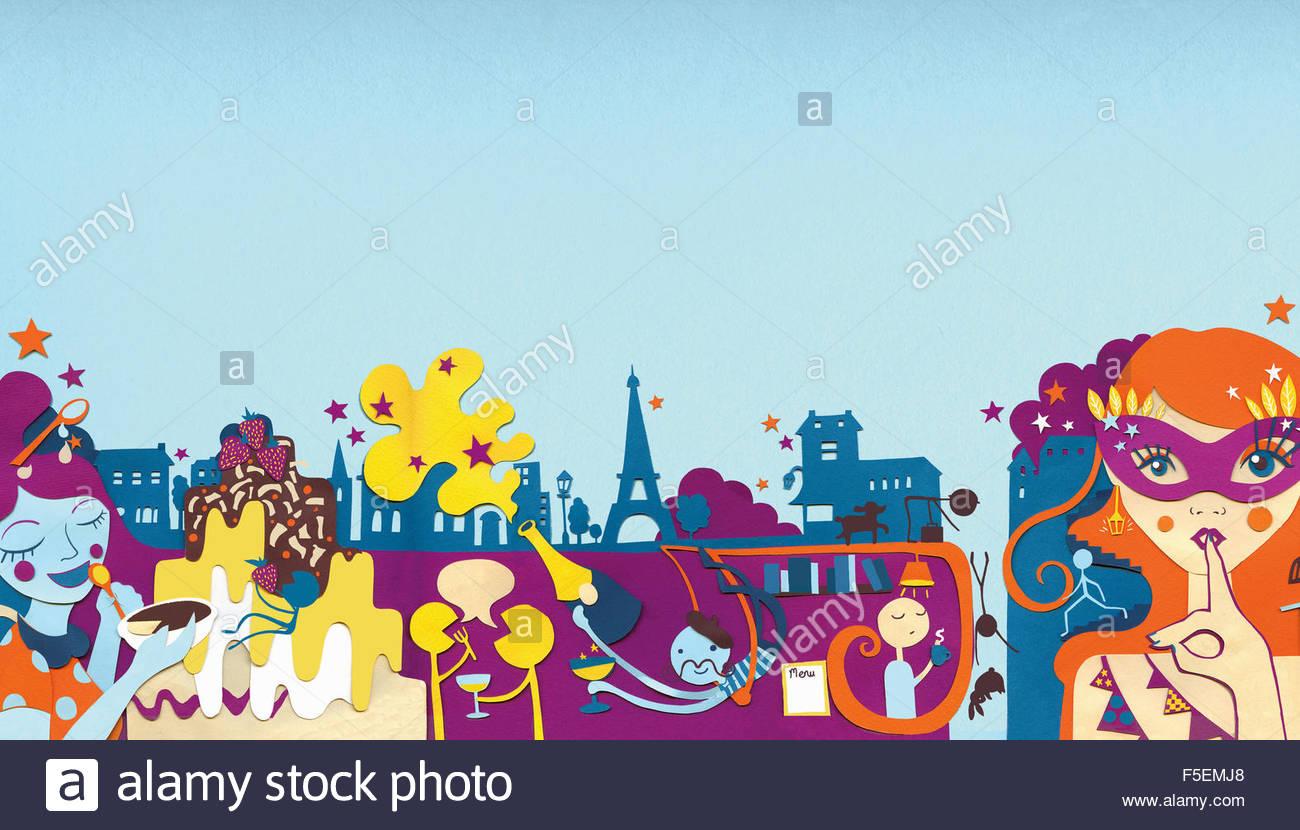 Nachtleben der Stadt mit Menschen Essen und trinken in Paris Stockbild