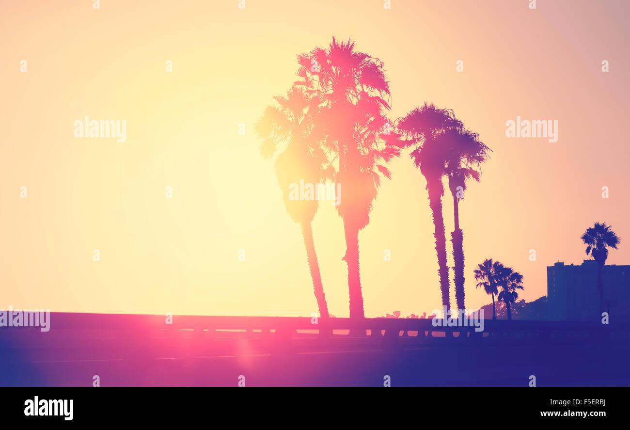 Vintage stilisierte Bild von Palmen Silhouetten bei Sonnenuntergang, Raum für Text, Santa Monica, USA. Stockbild