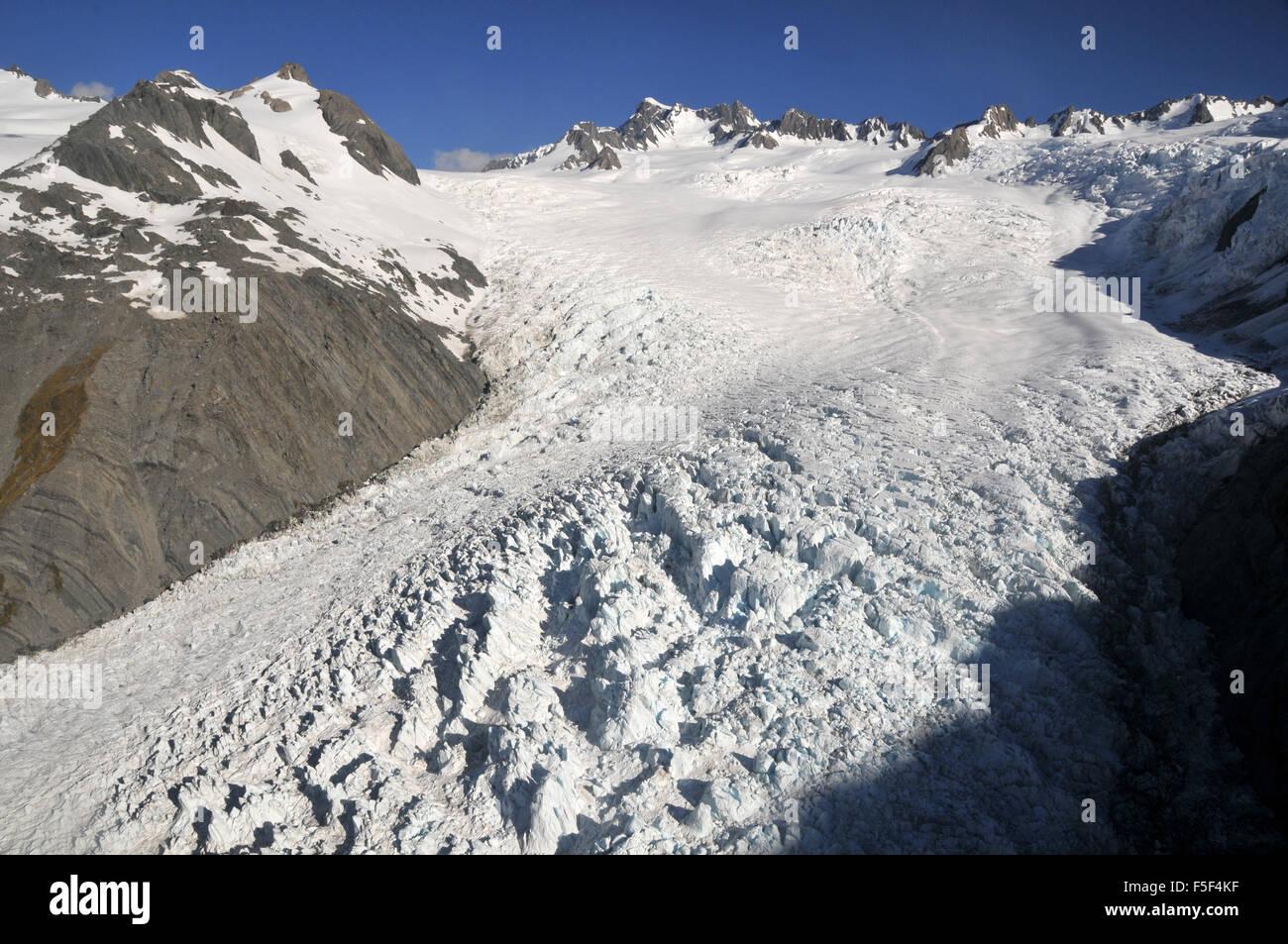 Franz Josef Glacier, einem Gletscher schmelzen aufgrund des Klimawandels, Franz Josef, Südinsel, Neuseeland Stockbild