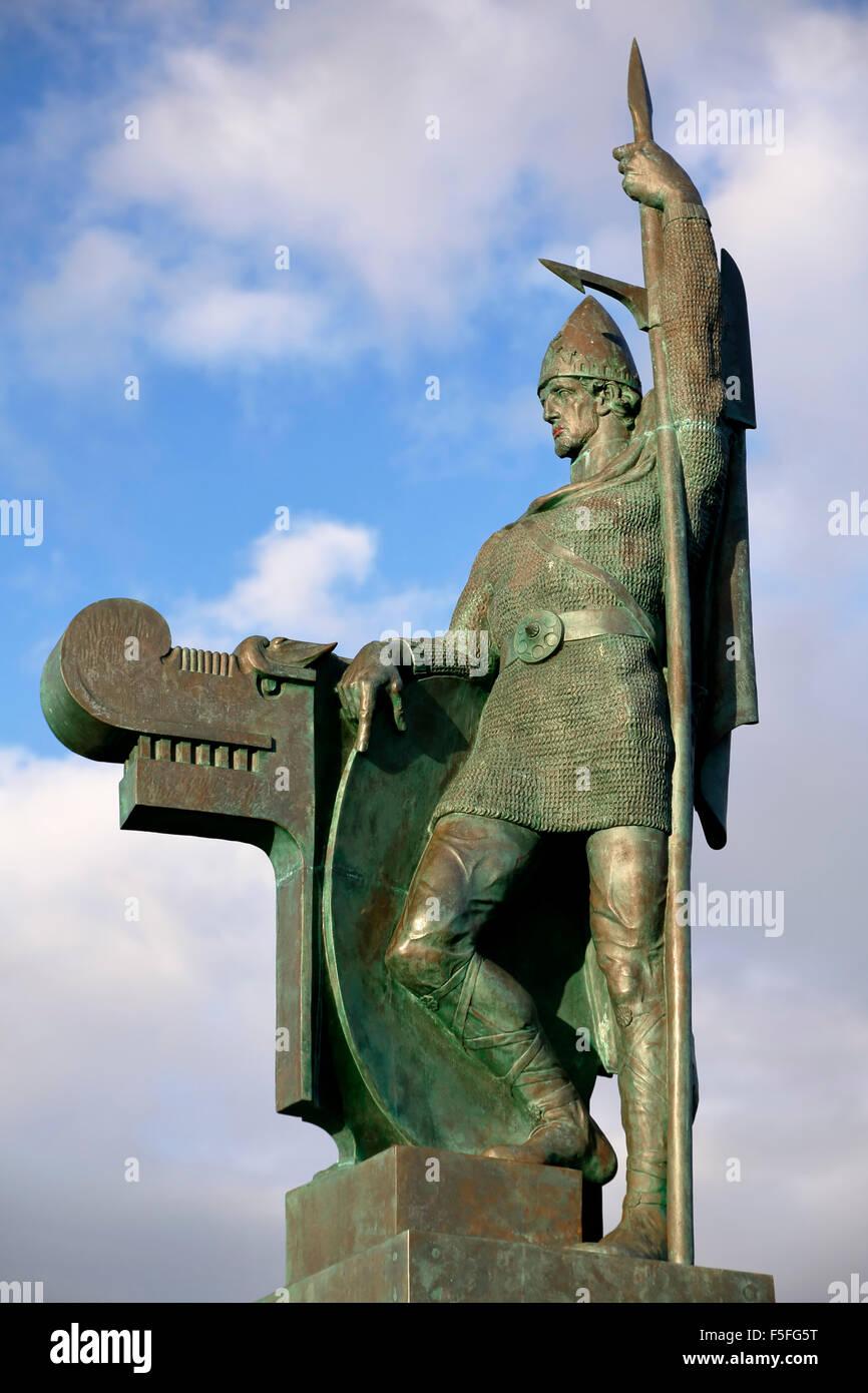 Skulptur von ingolfur Arnarson, von Bildhauer Einar Jonsson, Reykjavik, Island Stockbild