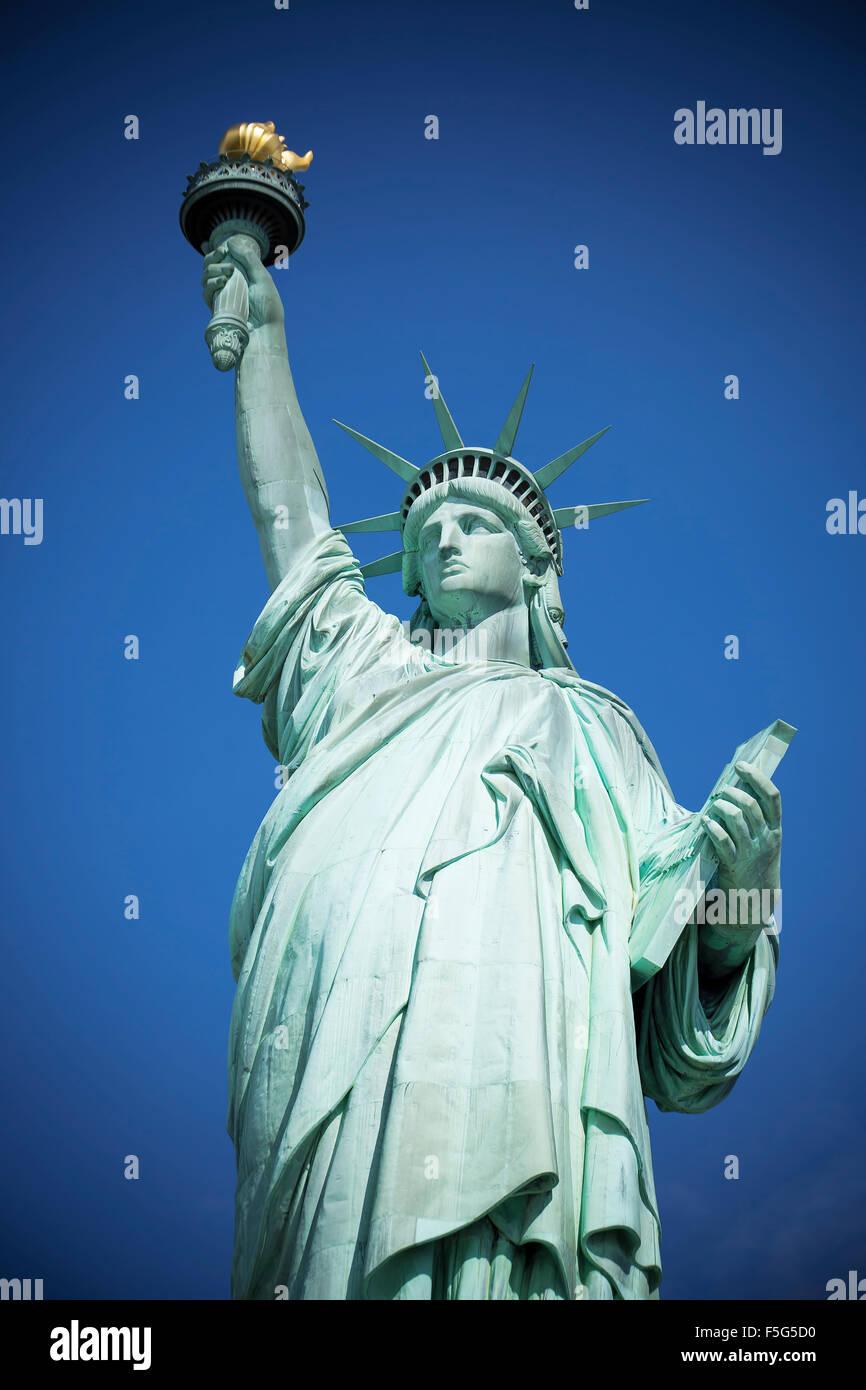 Berühmte Statue of Liberty, New York, spezielle fotografische Verarbeitung. Stockbild