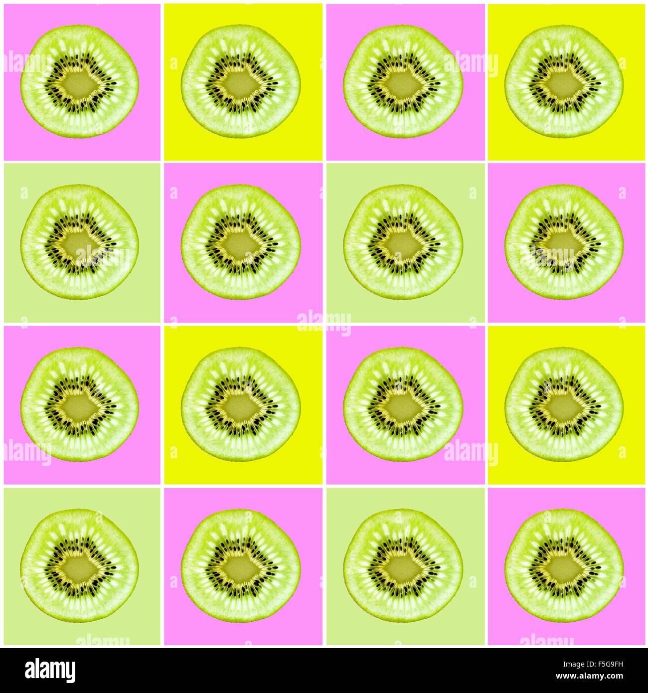 Pop Art Kiwi Frucht Quadrate Stockbild