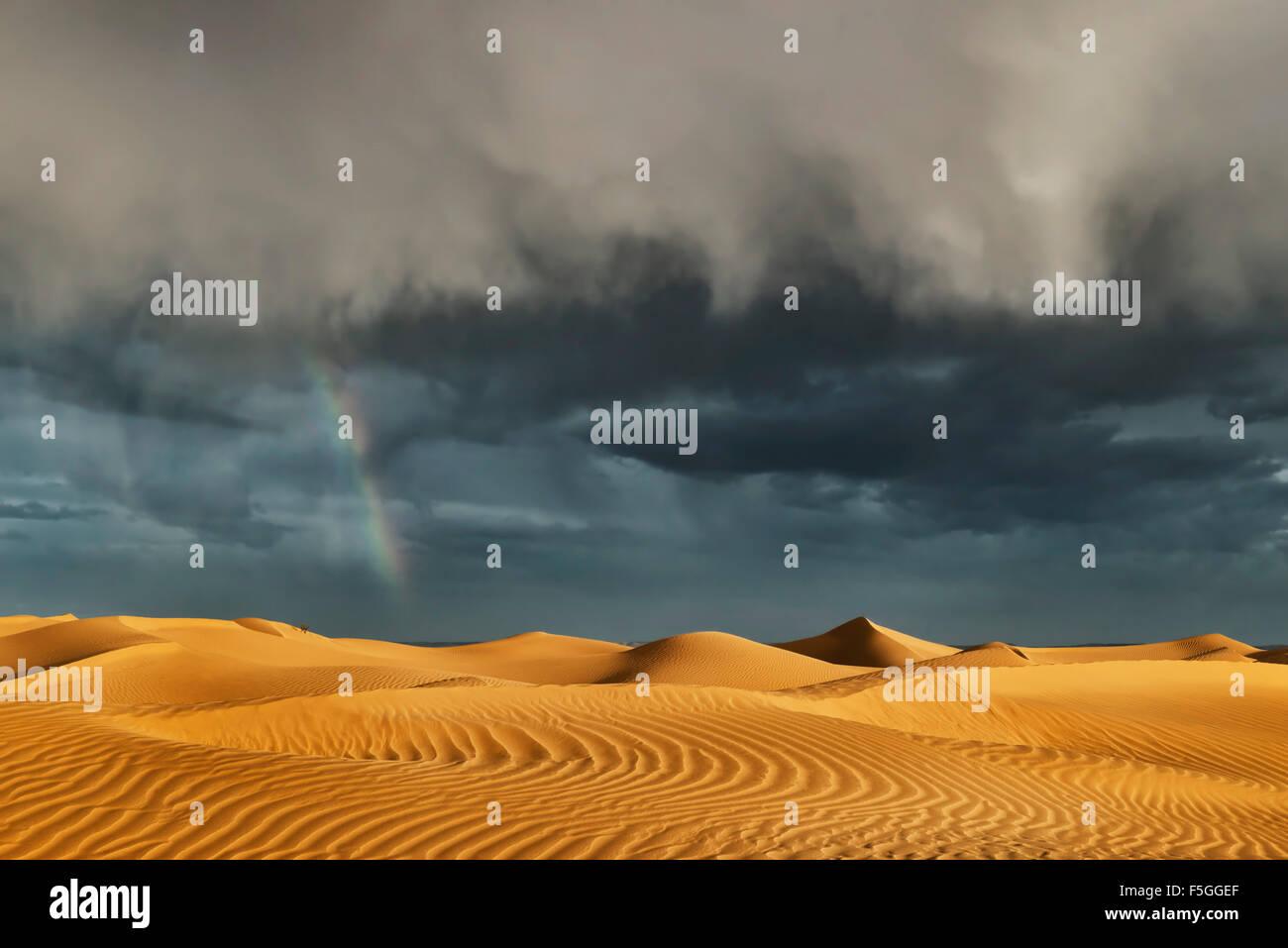 Sahara-Sand-Dünen mit stürmischen, bewölktem Himmel und Regenbogen. Stockfoto