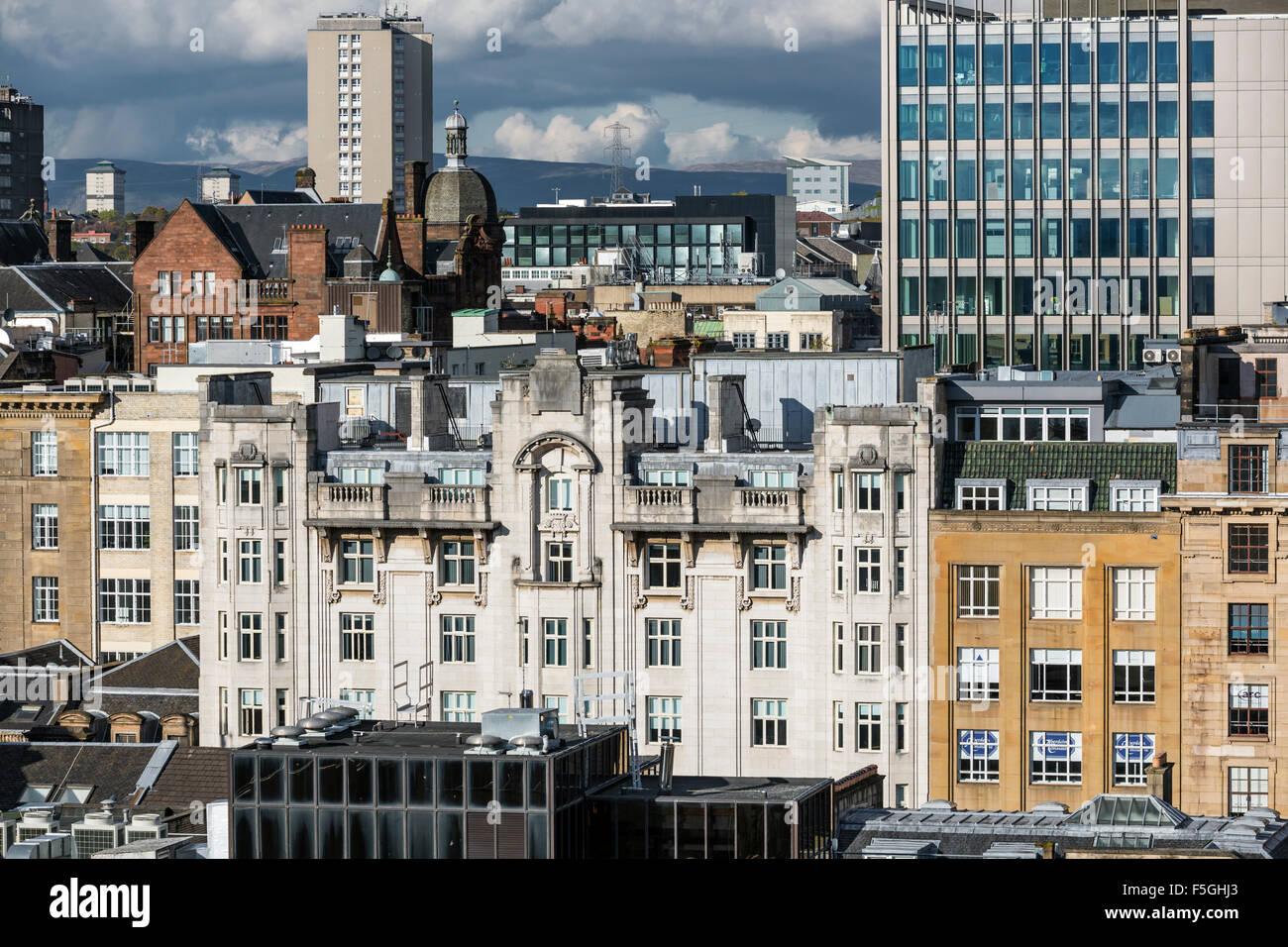 Blick von der Dachterrasse über Glasgow City Centre, Schottland, UK Stockfoto