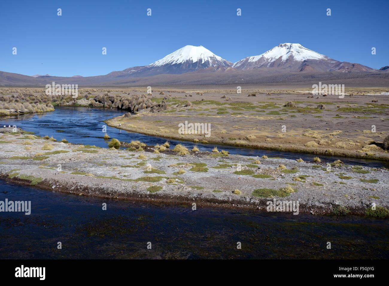 Schneebedeckte Vulkane Parinacota, pomerape und Sajama Nationalpark, Grenze zwischen Bolivien und Chile Stockbild