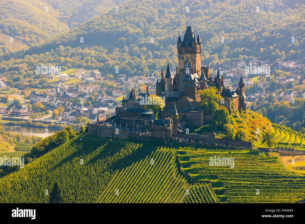 Cochem Cochem Burg ist mehr als eine Burg. Es ist der größte Berg-Burg an der Mosel, Deutschland. Stockbild