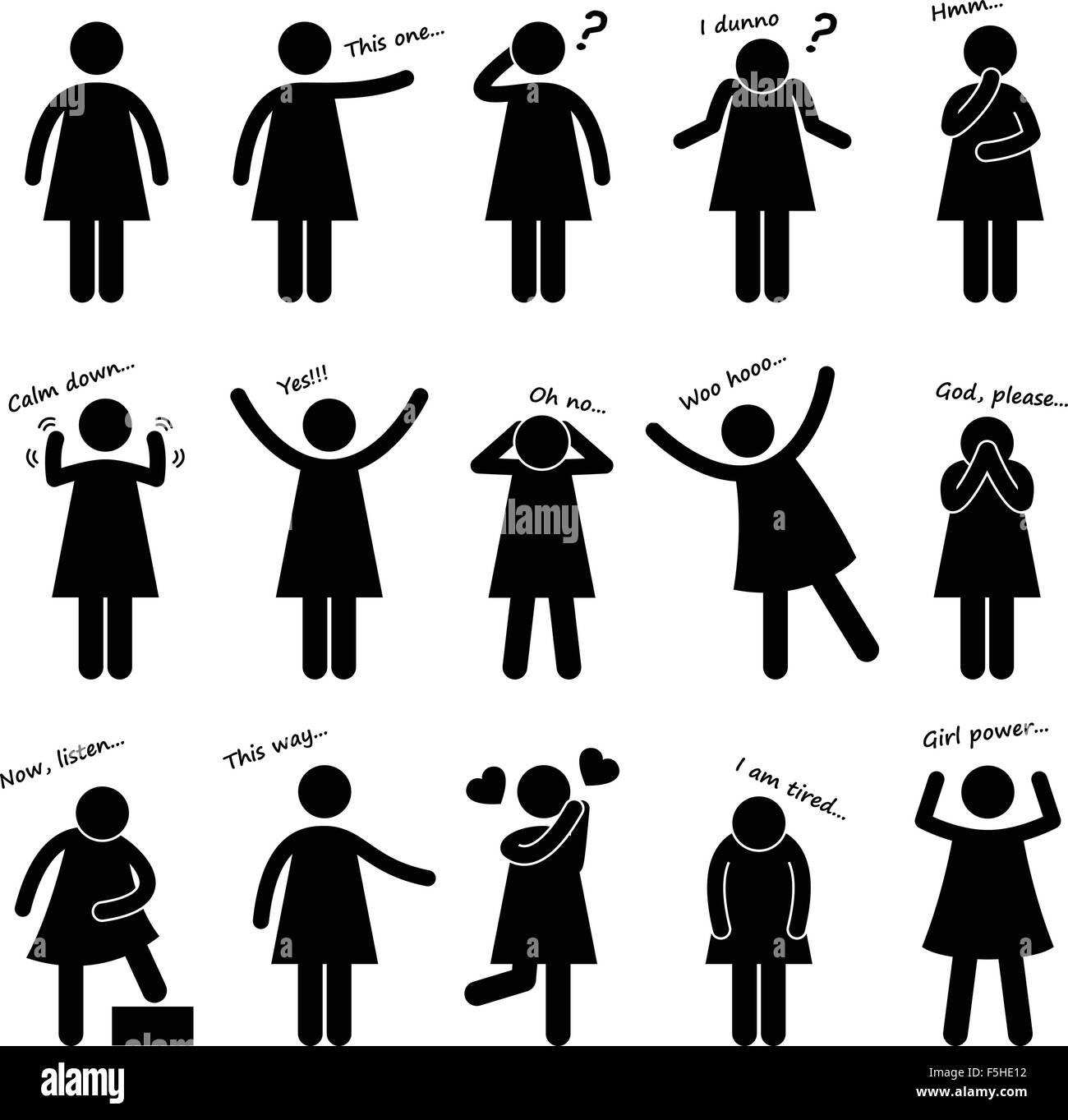 Frau Mädchen Weibliche Person Grundlegende Körpersprache