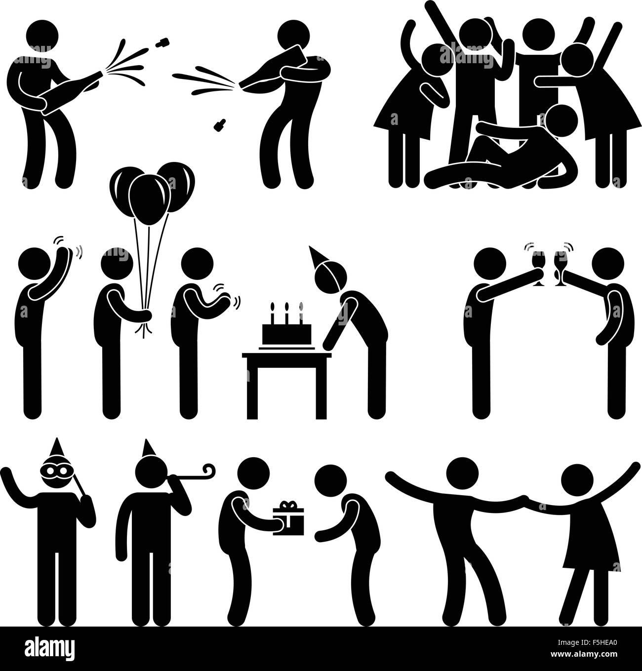 Freund Party Feier Geburtstag Icon Symbol Zeichen Piktogramm Vektor